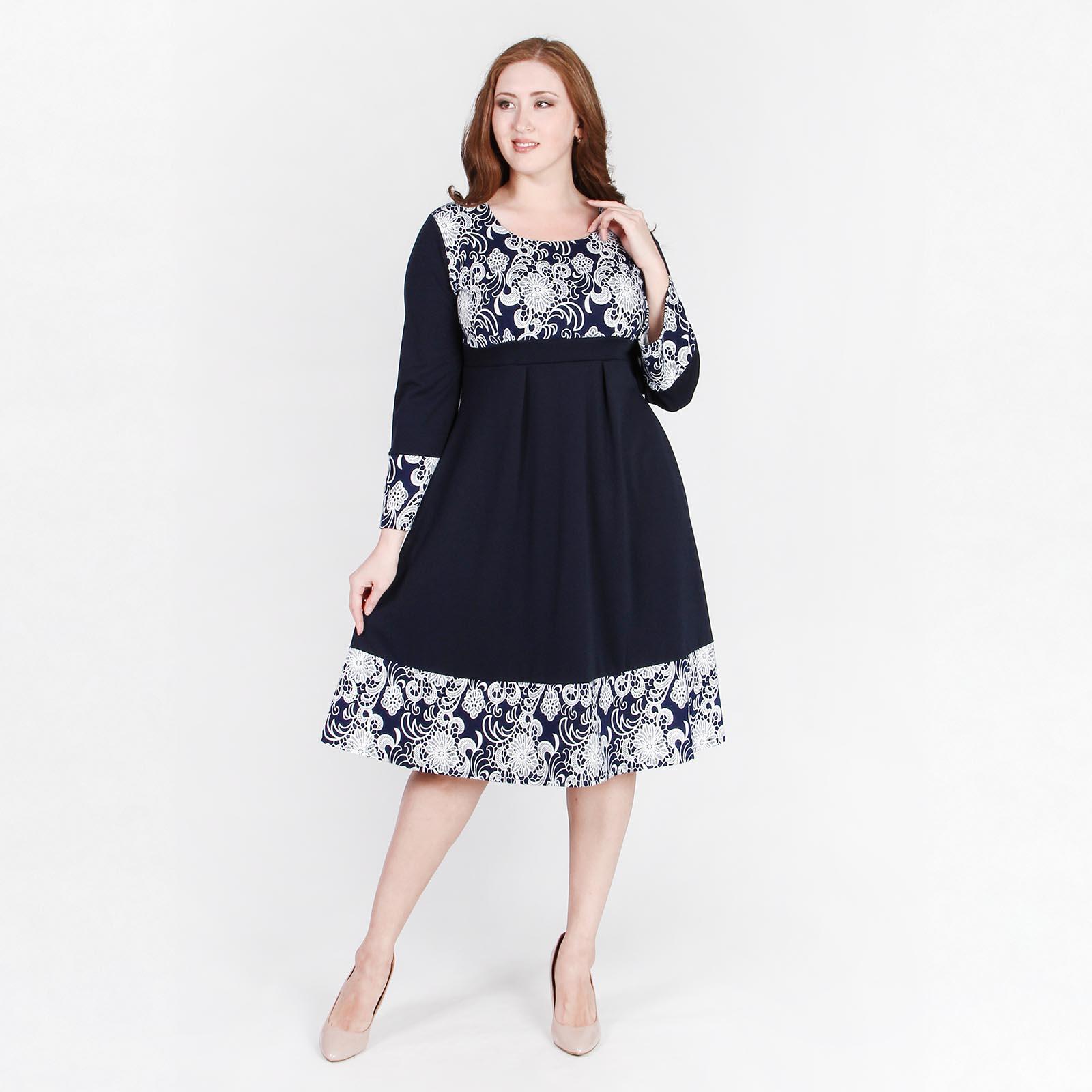Платье расклешенного кроя с контрастным узором