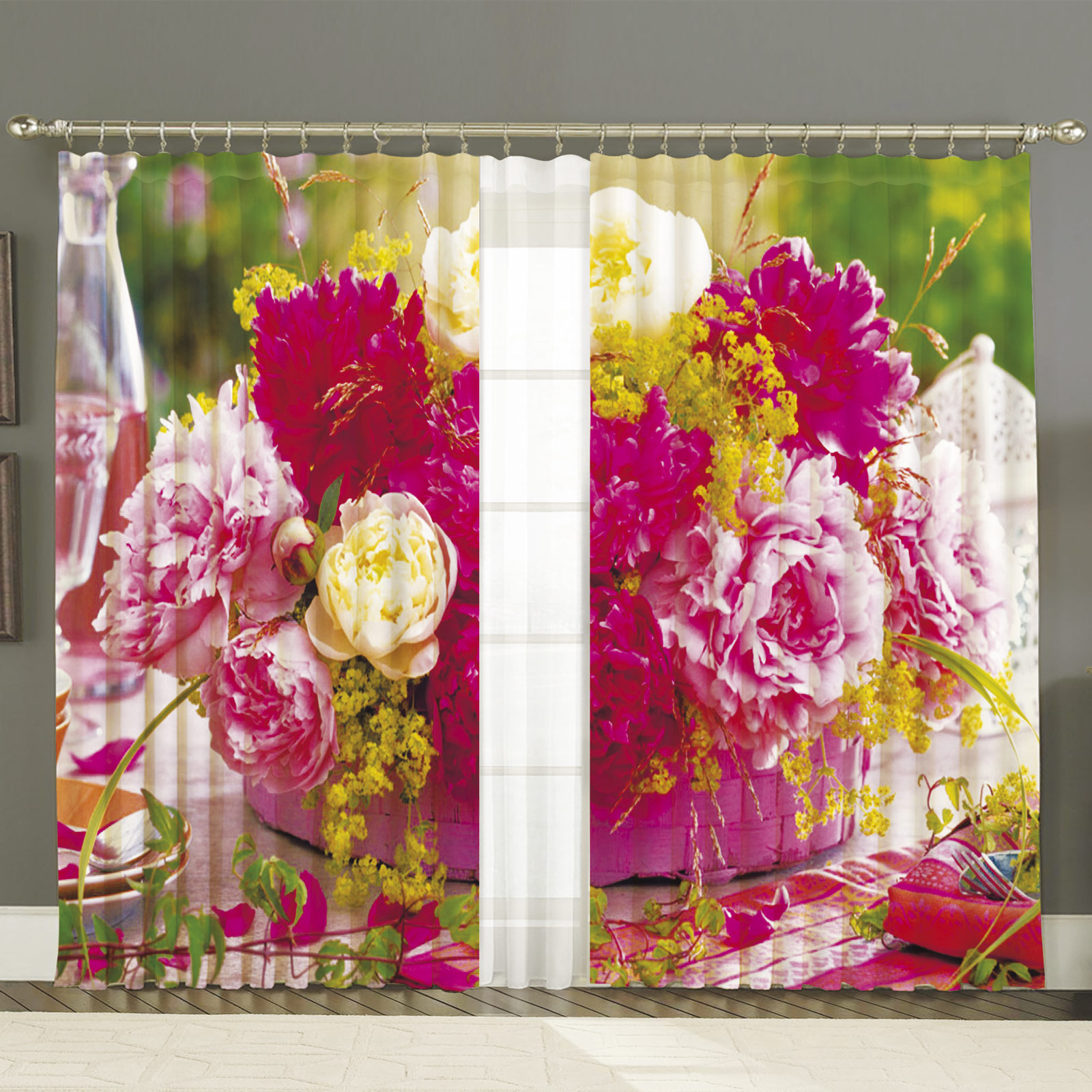 Комплект штор+тюль «Цветущие пионы»