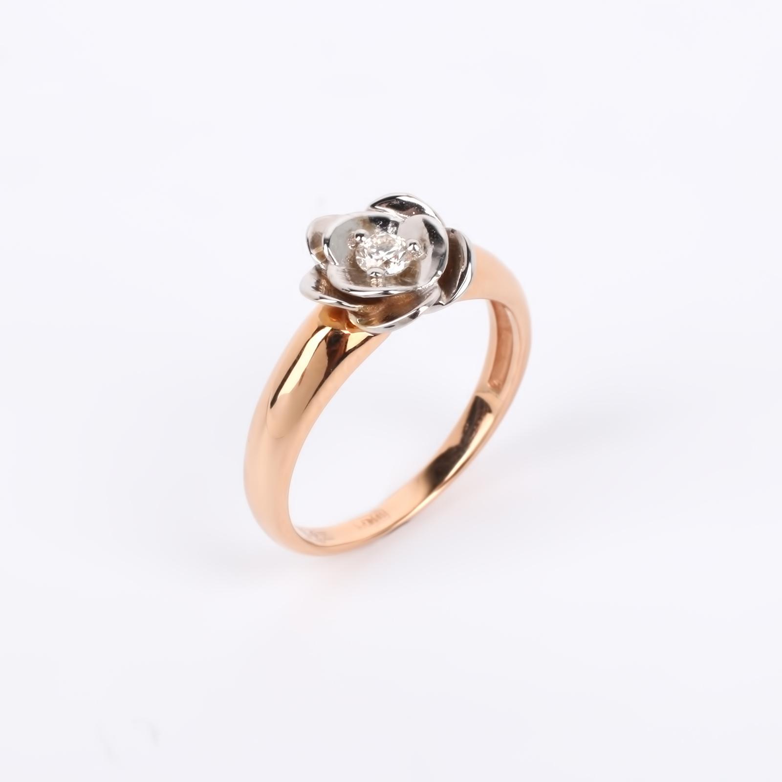 """Кольцо из золота """"Драгоценная роза"""""""