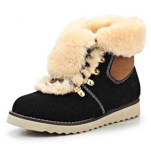Ботинки на шнурках с меховым отворотом