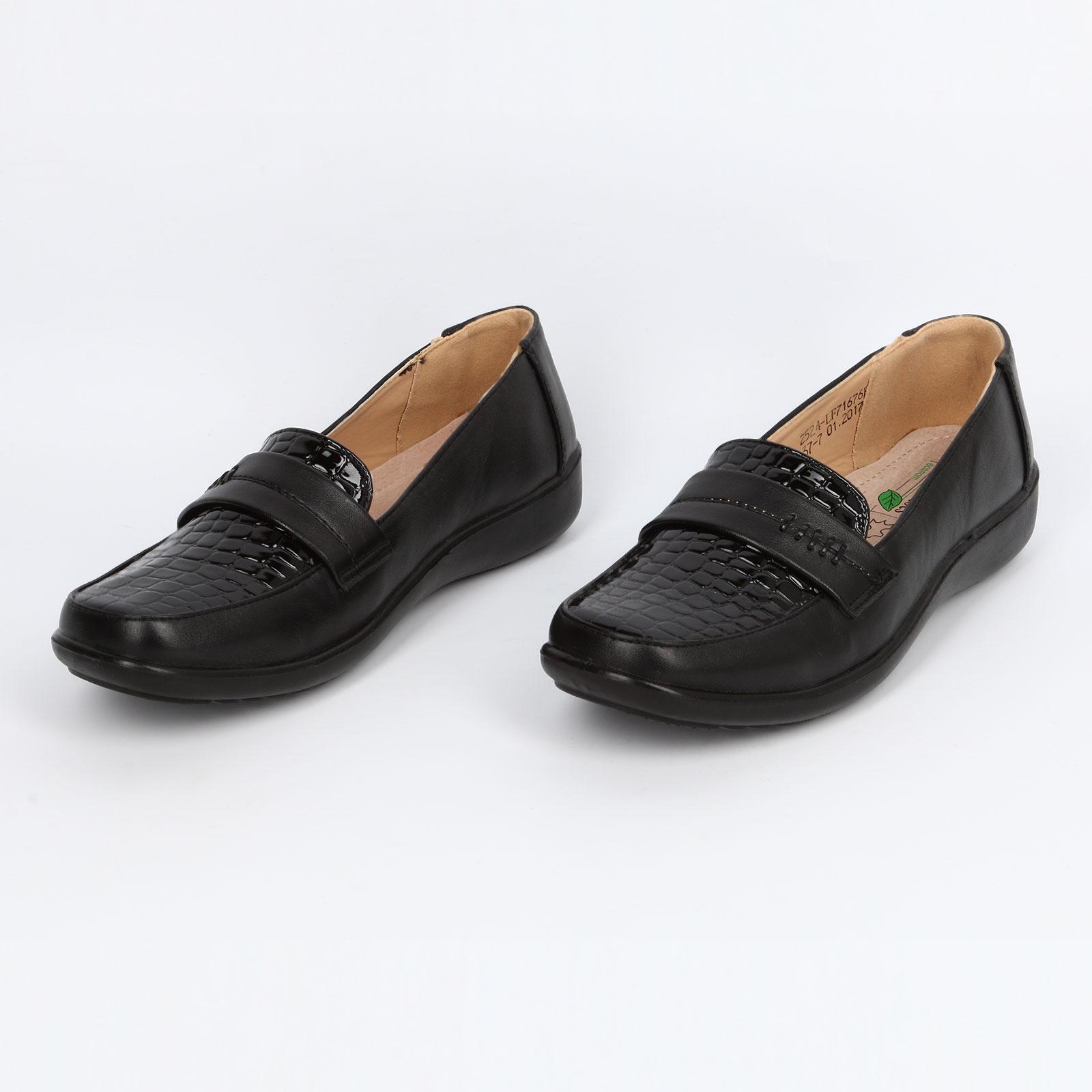 Туфли со вставкой под рептилию
