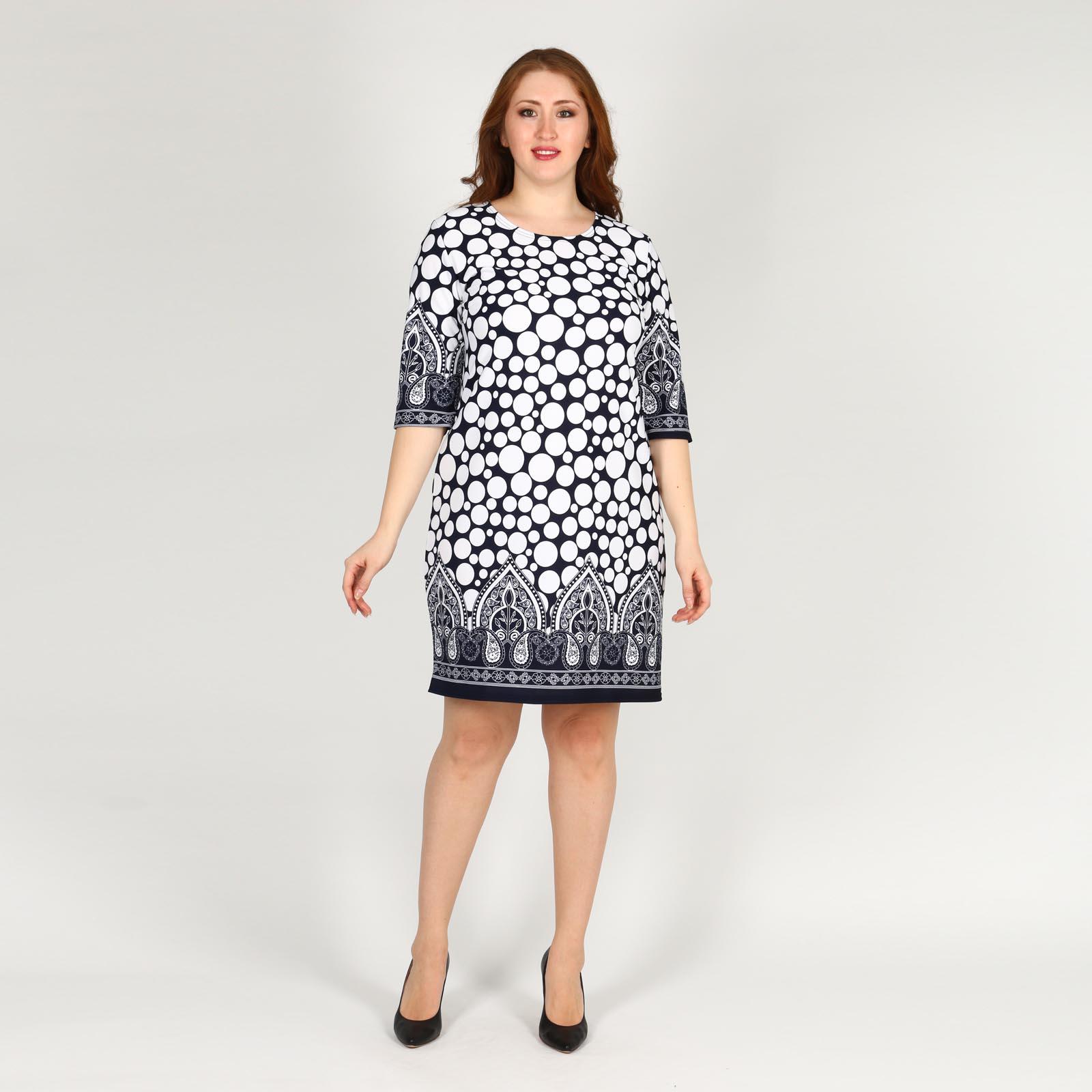 Платье с принтом и округлым вырезом