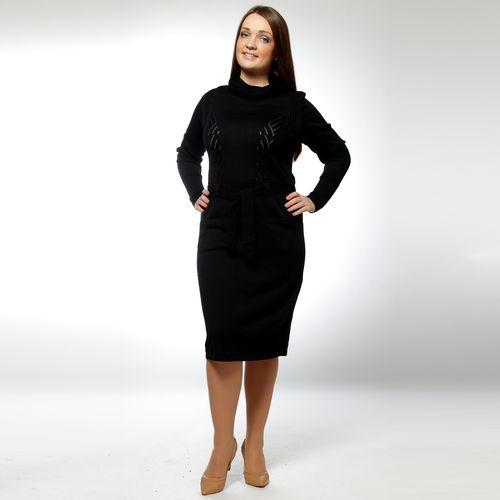 Платье с воротником-хомут и декоративными карманами и поясом