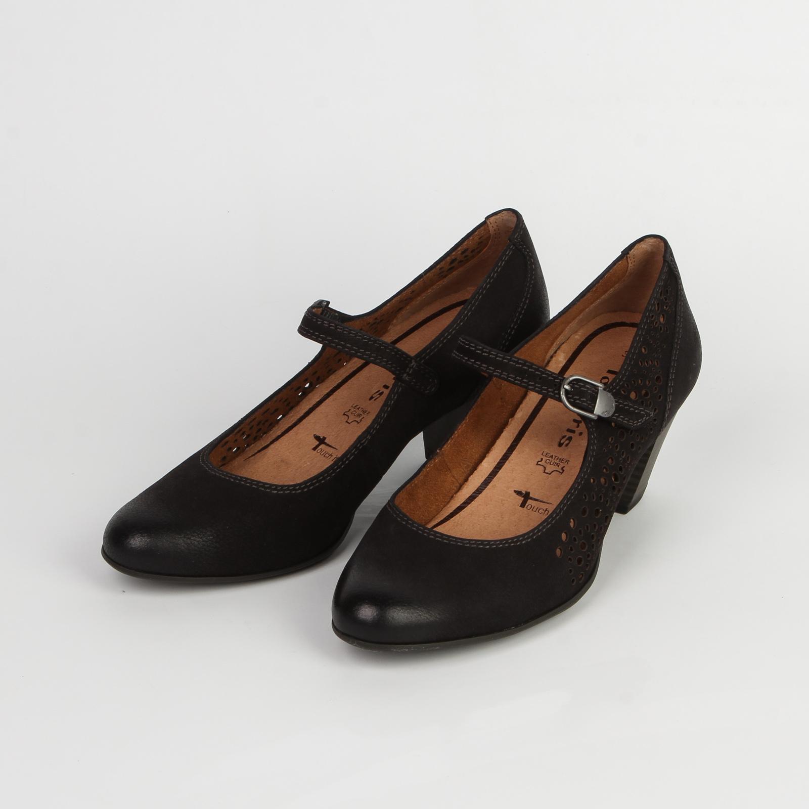 Туфли женские из натуральной кожи украшенные перфорацией с регулируемым ремешком