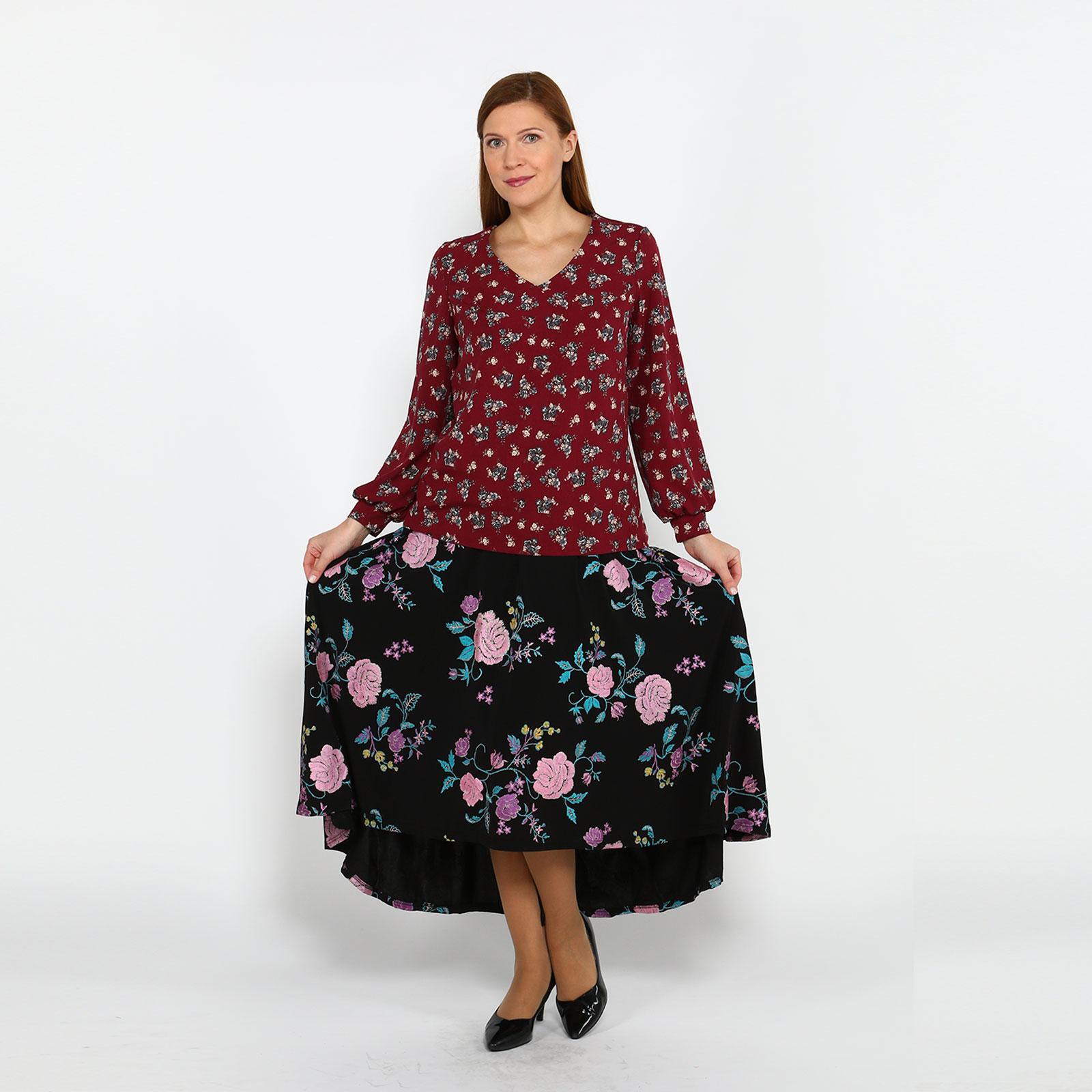 Блуза с принтом и манжетами на рукавах