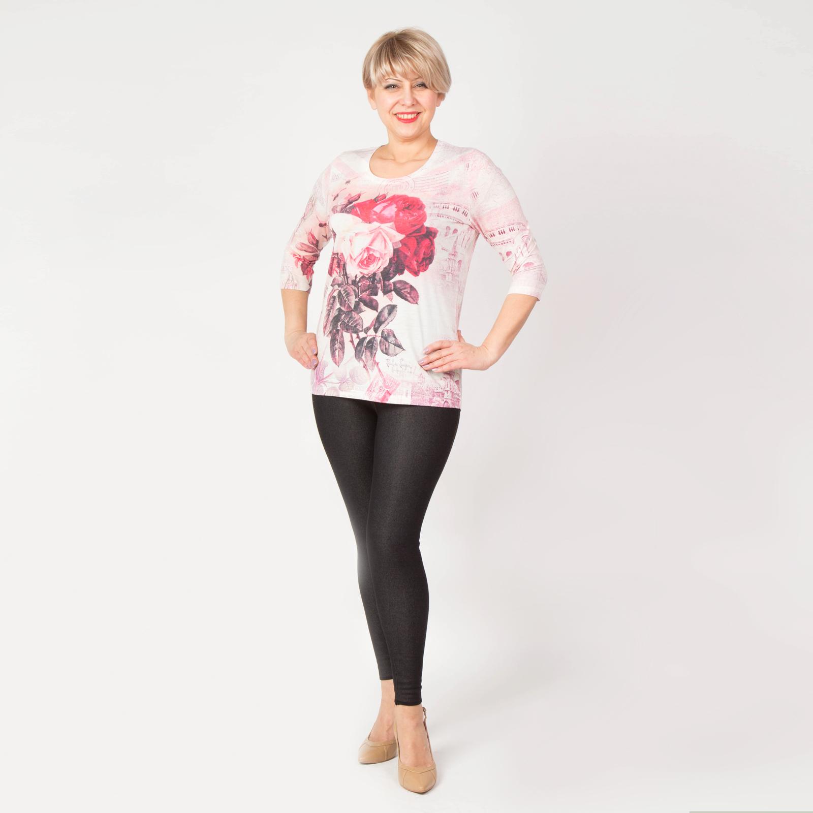 Блуза с рукавом 3/4 и ярким цветочным принтом