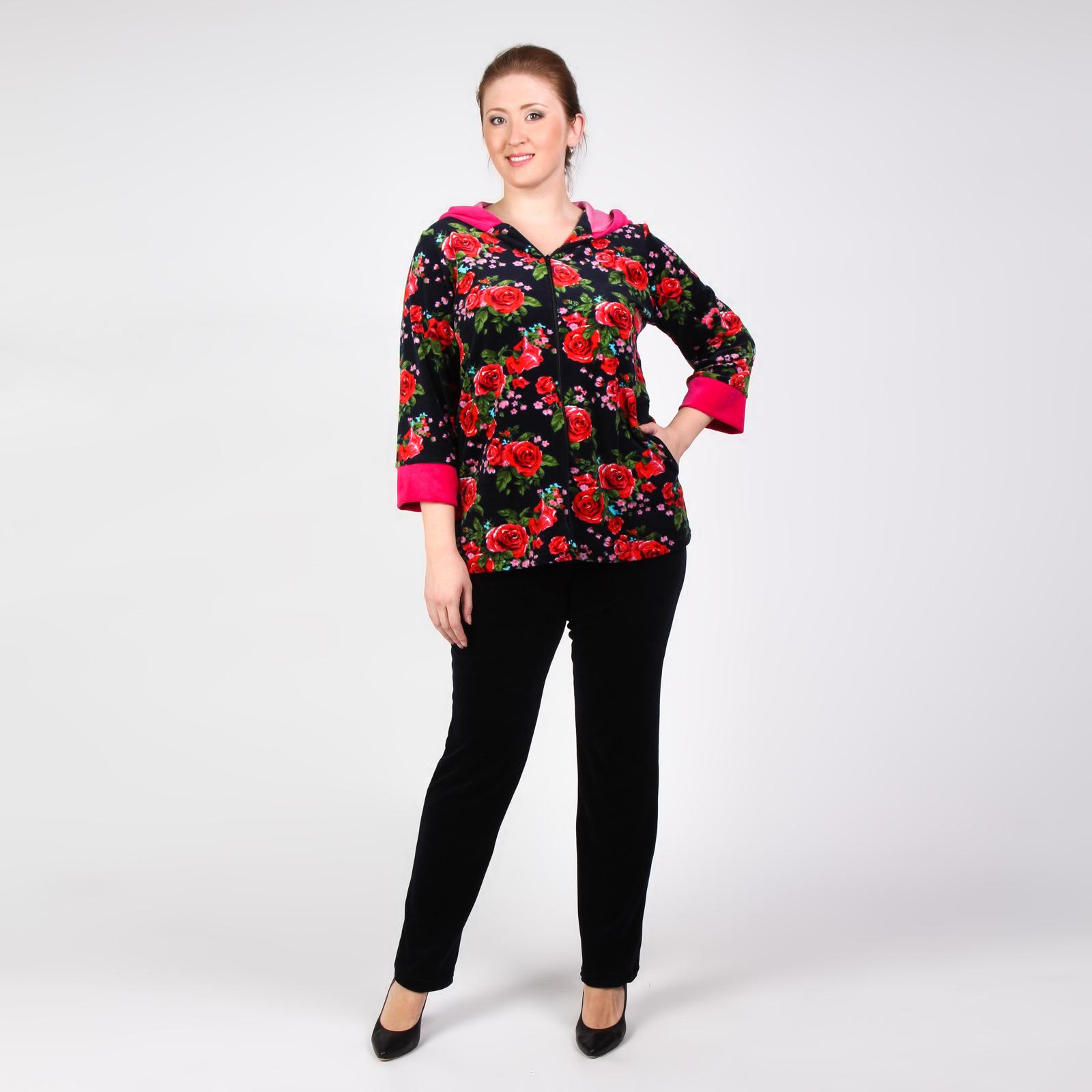 Костюм: брюки и удлиненная куртка с цветочным принтом