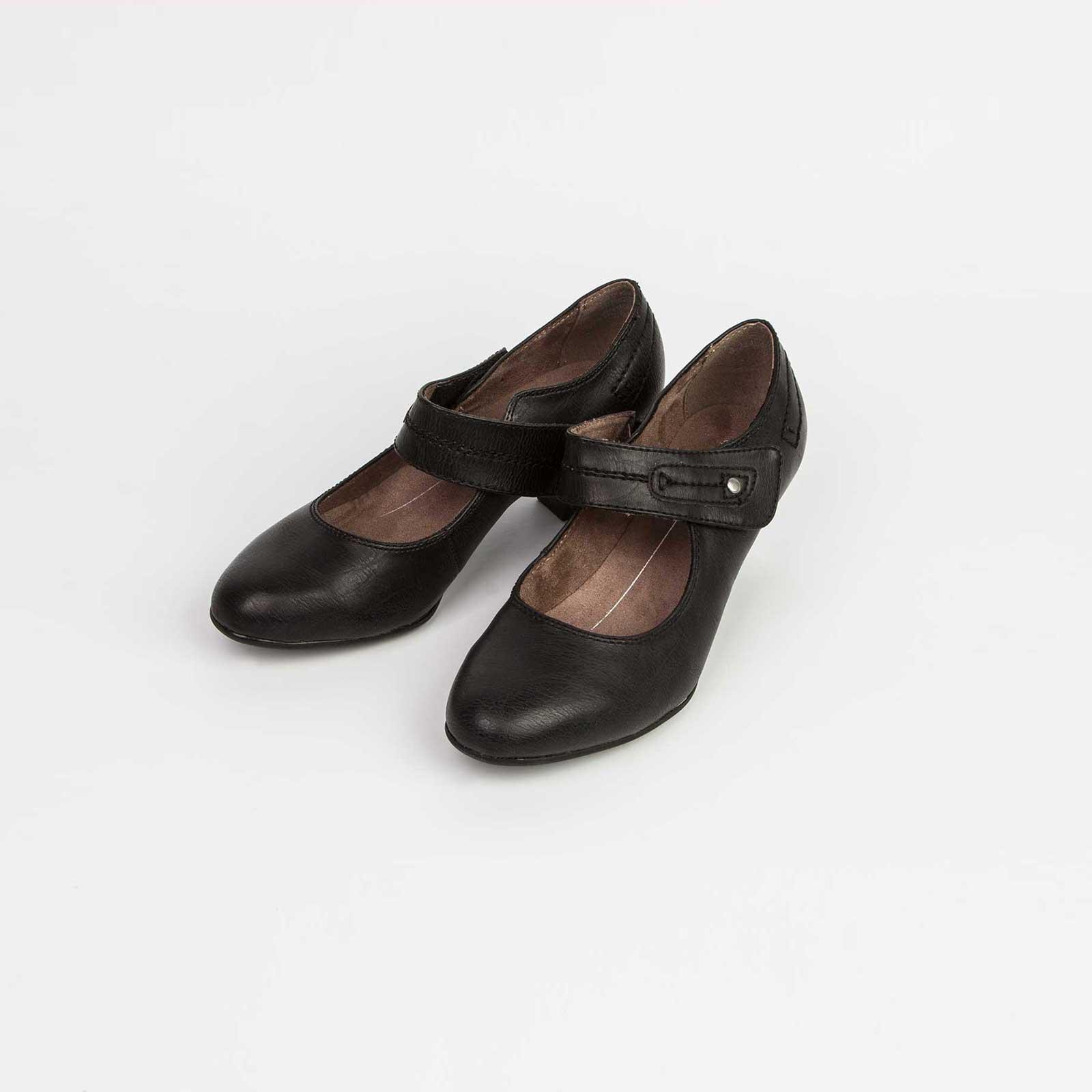 Женские туфли на удобном каблуке с ремешком