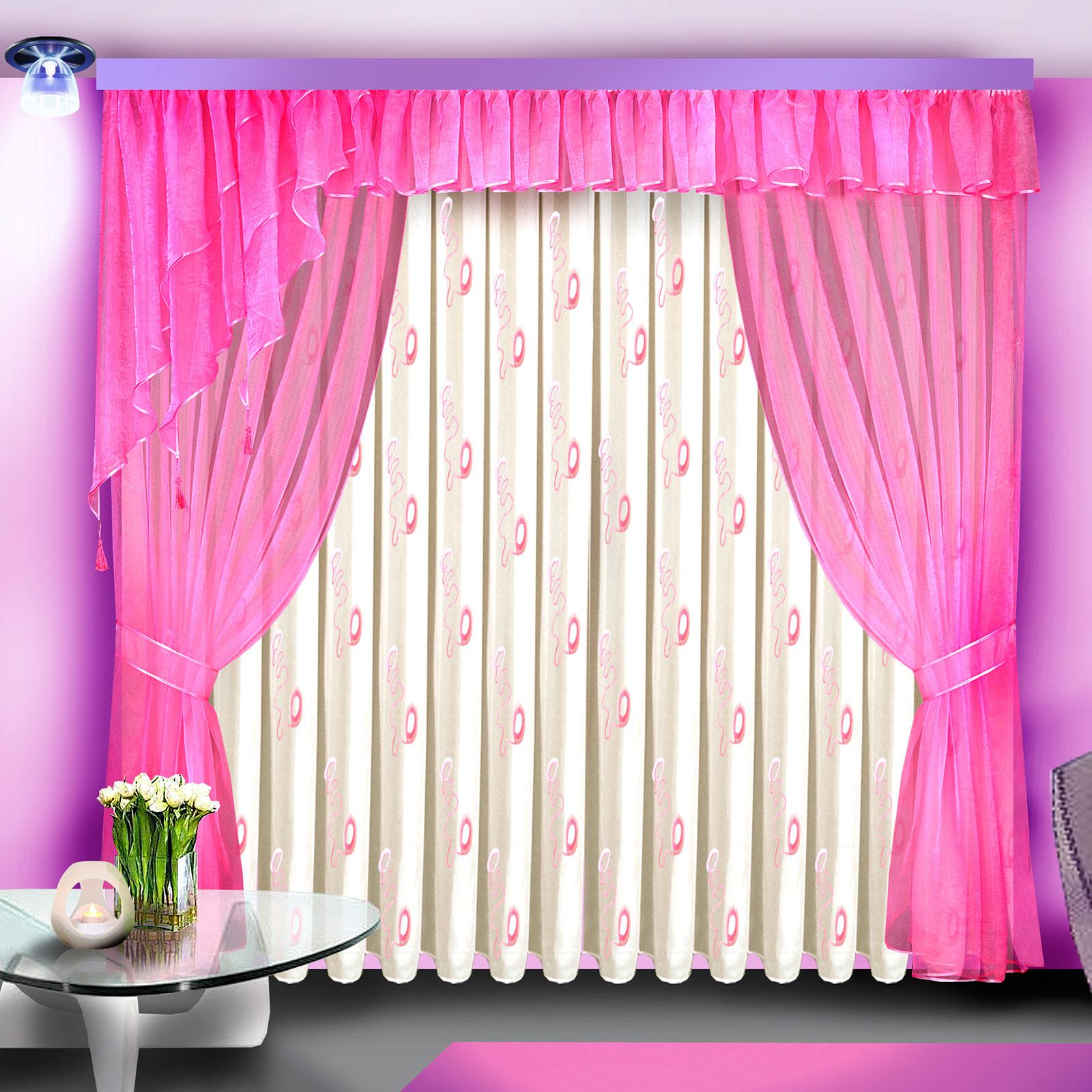 Комплект штор + тюль + ламбрекен «Розовая мечта»