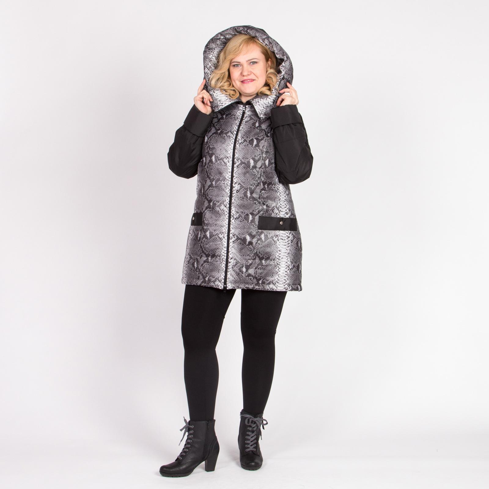Куртка с капюшоном и комбинированным хищным принтом