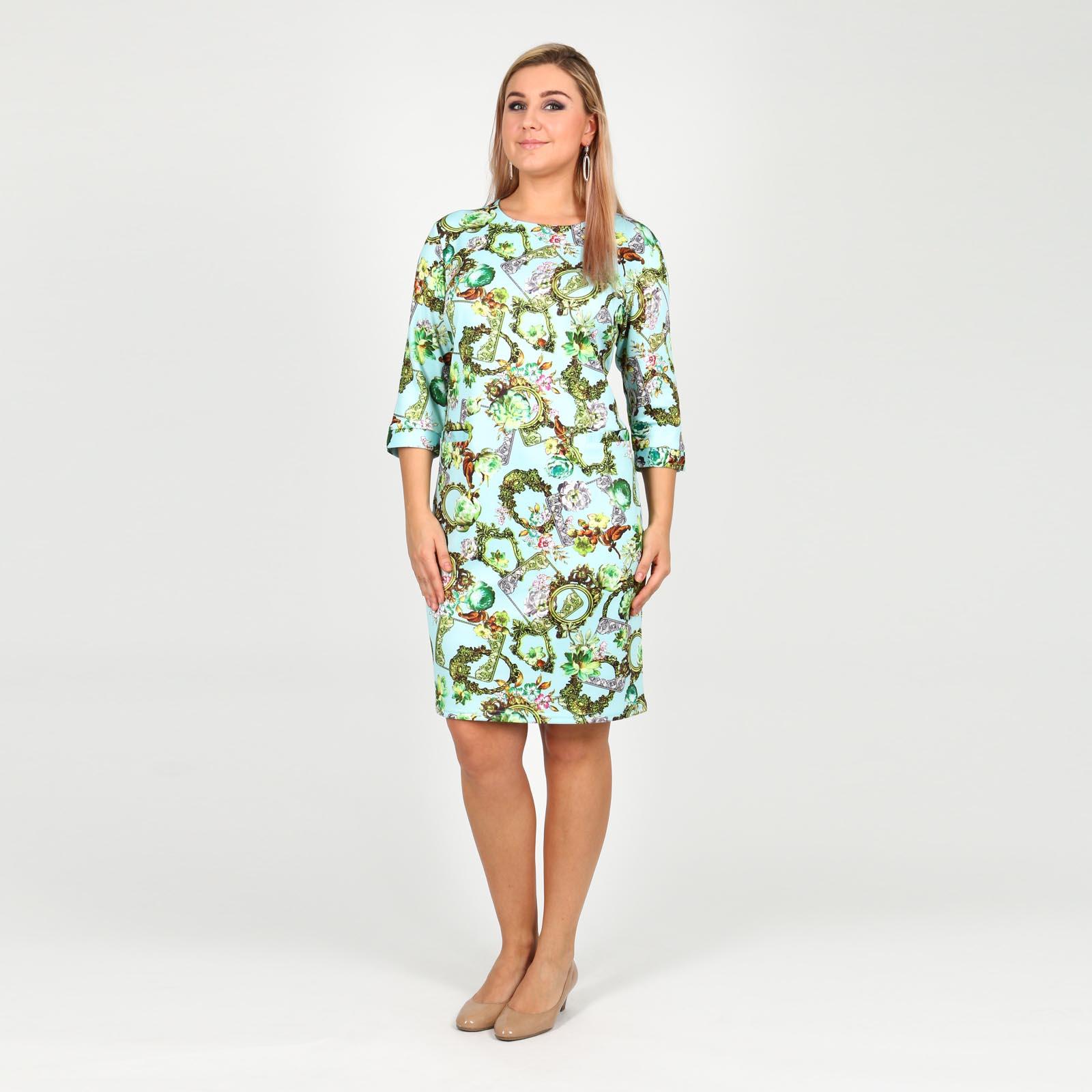 Платье с принтом и декоративными карманами