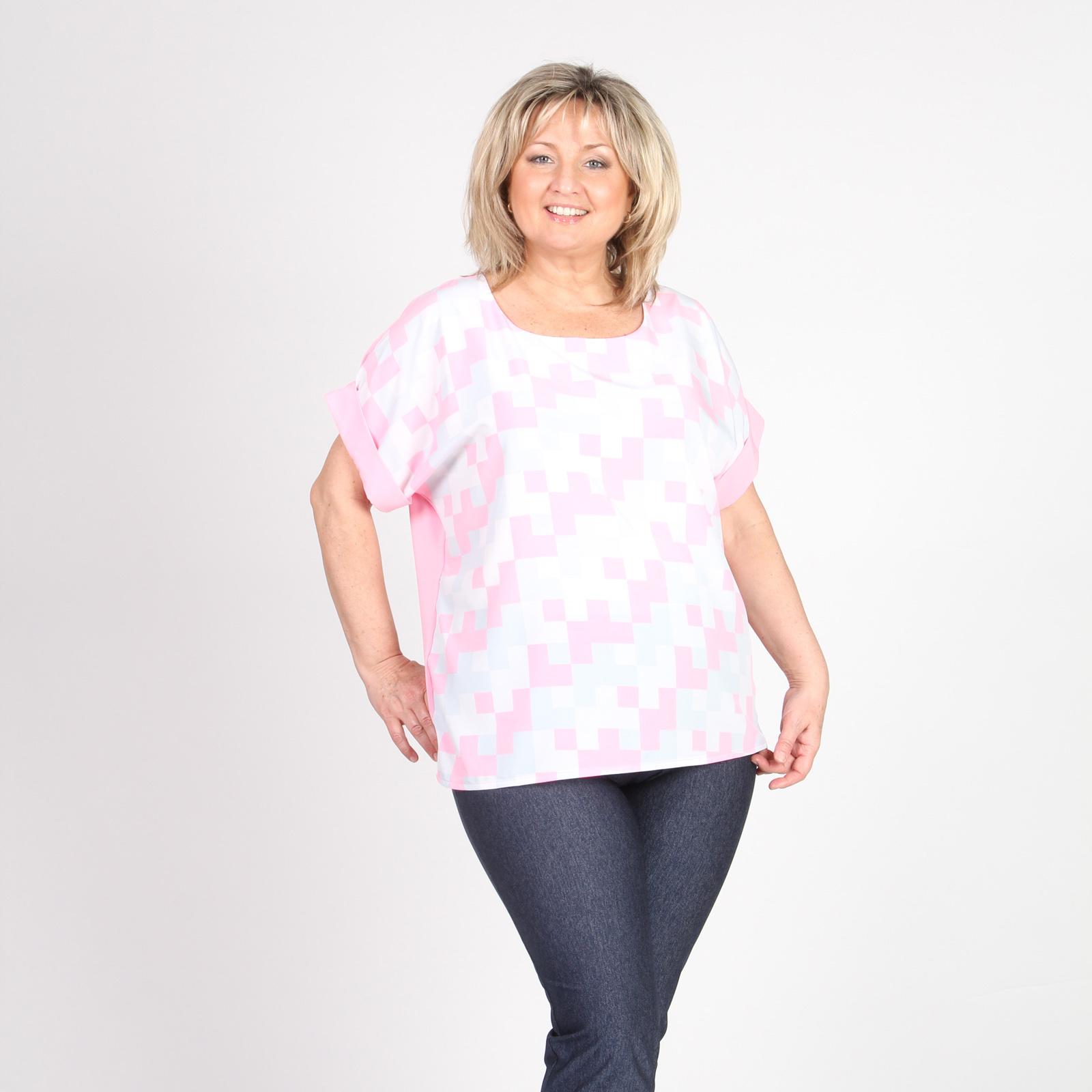Блуза прямого кроя с геометрическим принтом