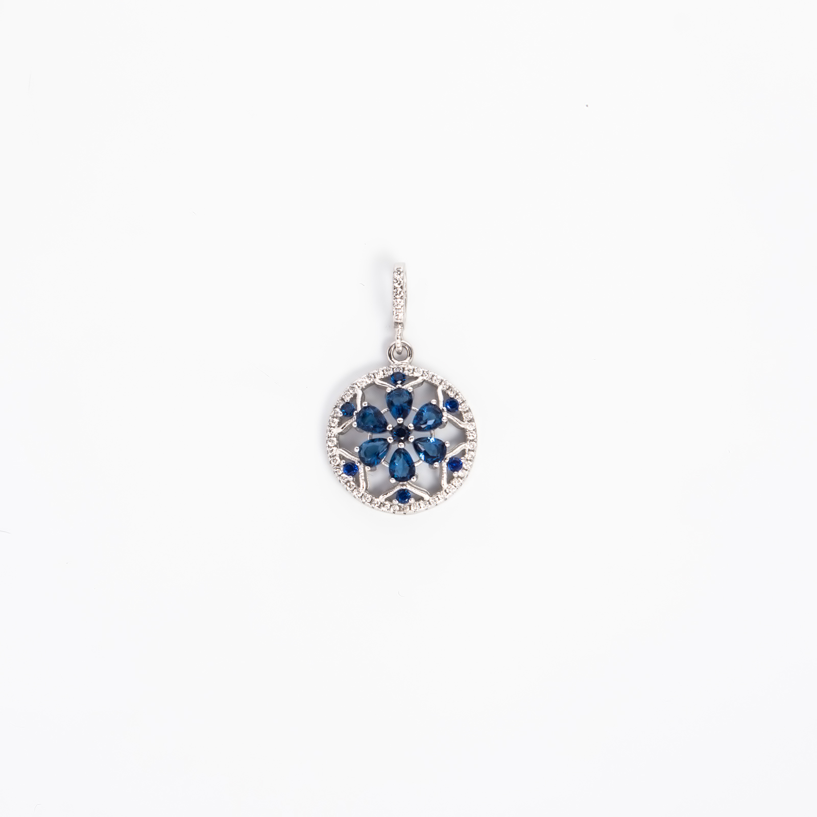 Серебряная подвеска «Синий цветок»