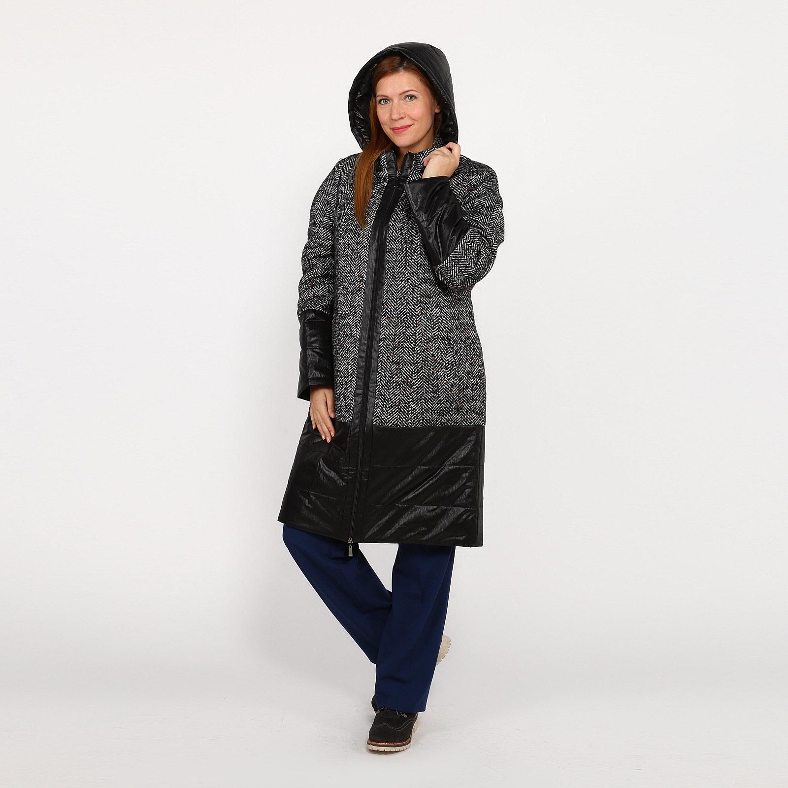 Пальто с капюшоном на молнии и кулисками