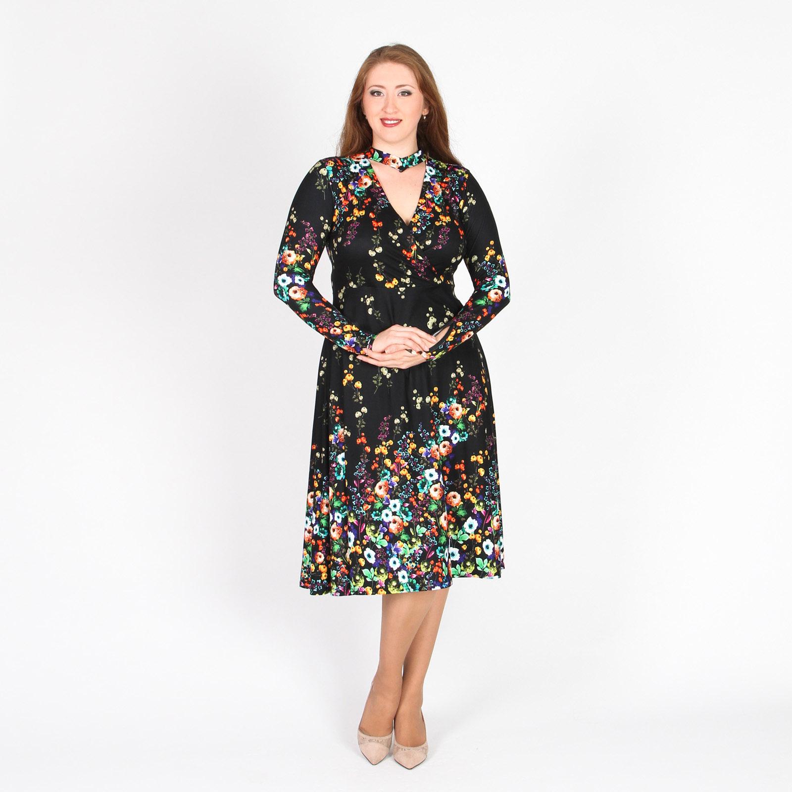 Платье дизайнерского кроя с цветочным принтом