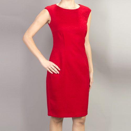 Платье с фактурным узором под жаккард без рукавов