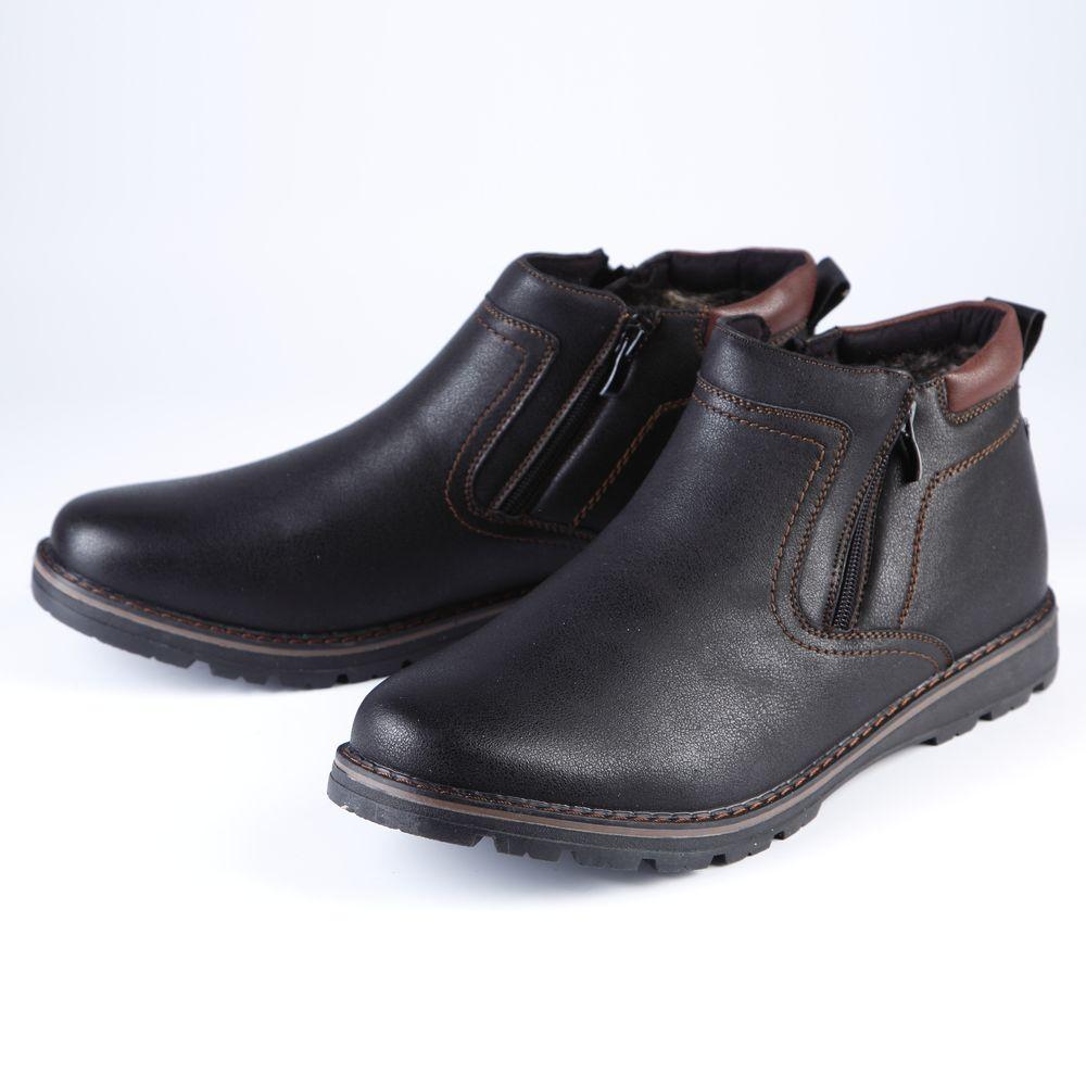 Ботинки мужские на молнии с контрастной вставкой