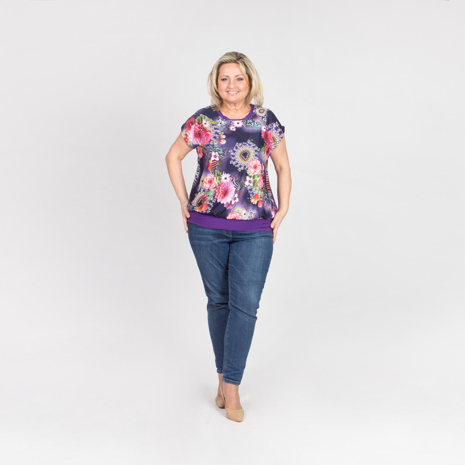Блуза с коротким рукавом с принтом «Весенние цветы»