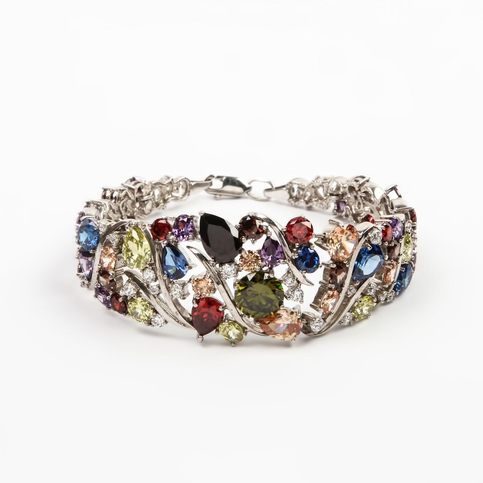 Серебряный браслет «Россыпь бриллиантов»