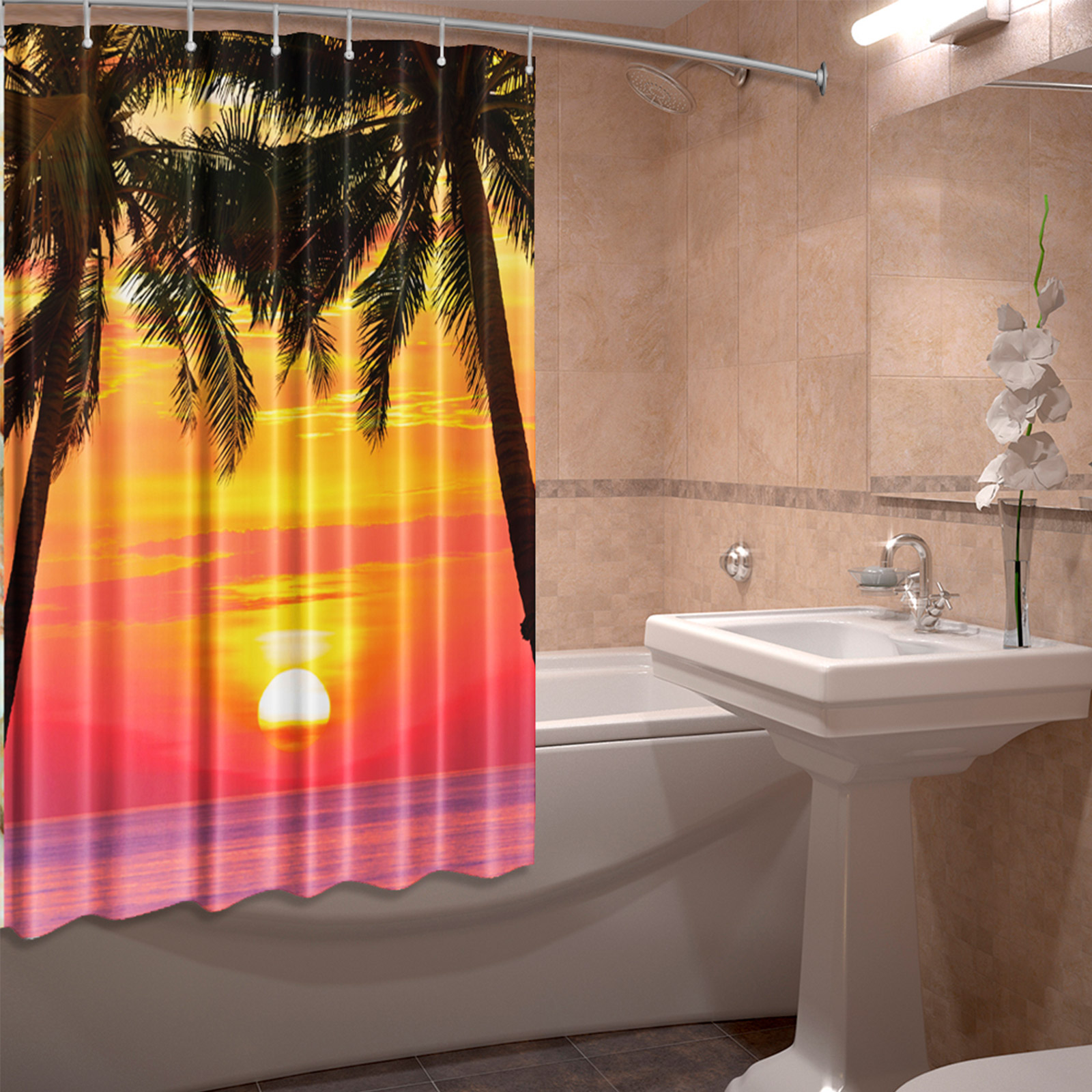 Штора для ванной комнаты «Райский закат»