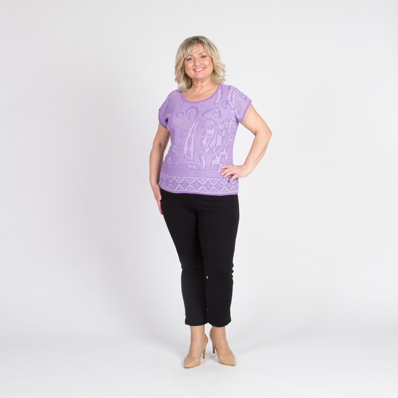 Блуза с коротким рукавом и контрастной окантовкой