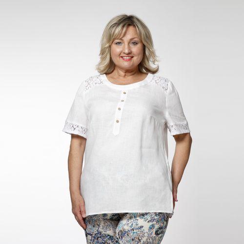 Блуза льняная с кружевным декором