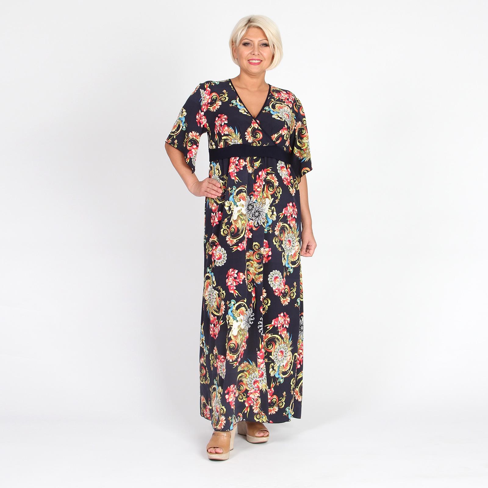 Платье-макси с асимметричным рукавом и узорным принтом