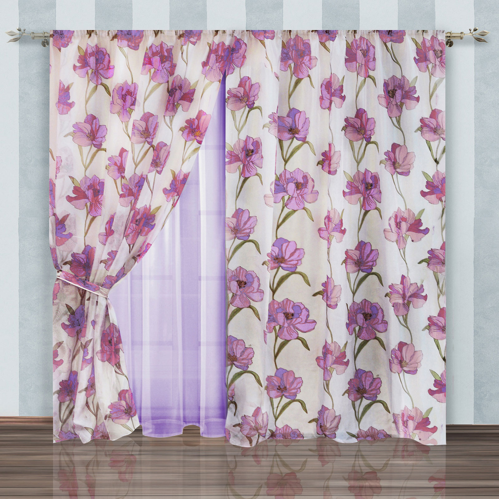 Комплект штор + тюль «Сиреневый цветочек»