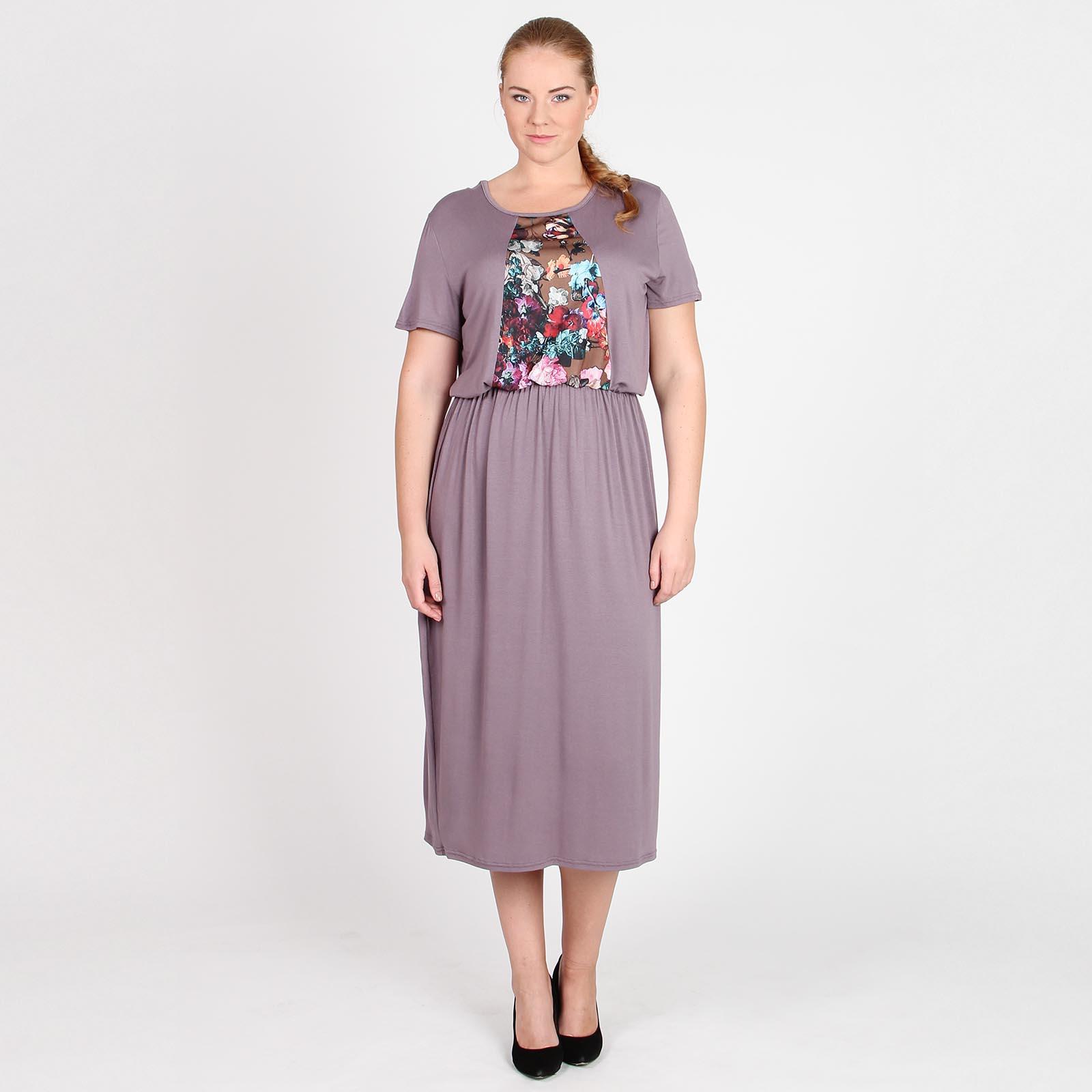 Платье в пол с рукавом 3/4 и фантазийным рисунком