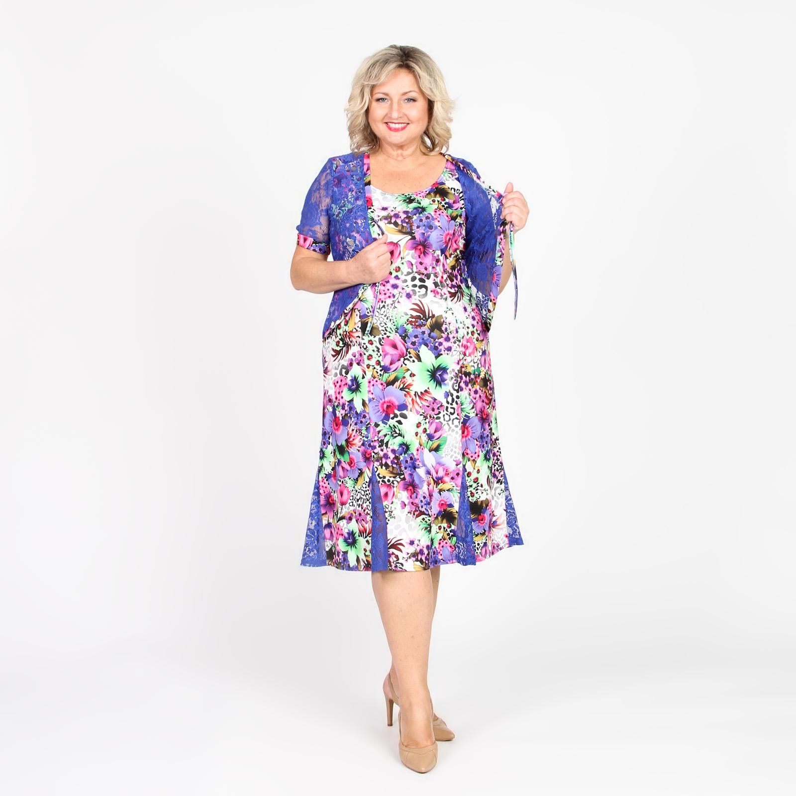 Платье с имитацией накидки с гипюровыми вставками