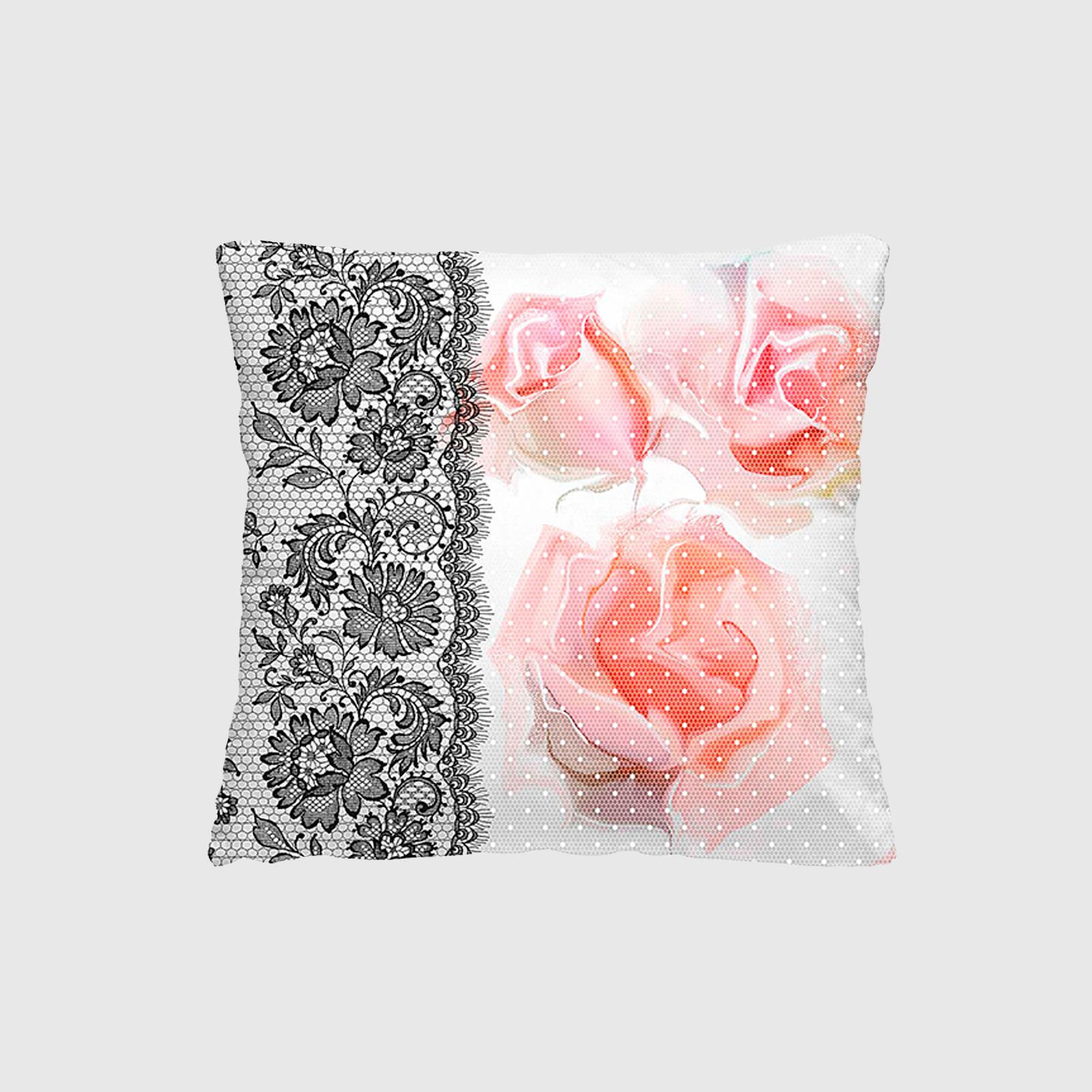 Комплект из 2-х декоративных подушек «Ажурные розы»