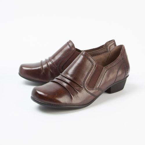 Ботинки женские с широкими эластичными вставками на низком каблуке