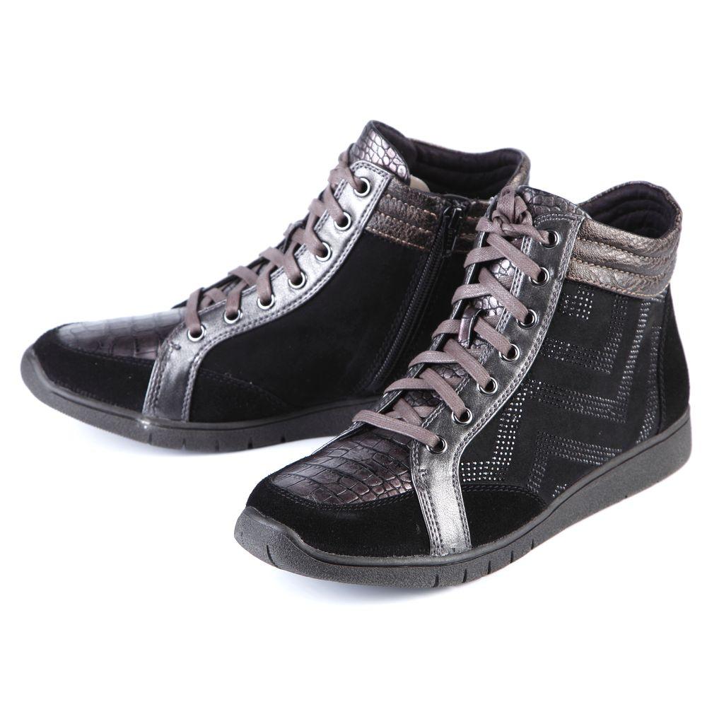 Ботинки женские на шнуровке, декорированные узором