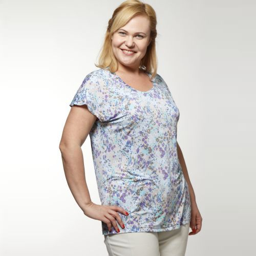 Блуза с коротким рукавом и абстрактным принтом
