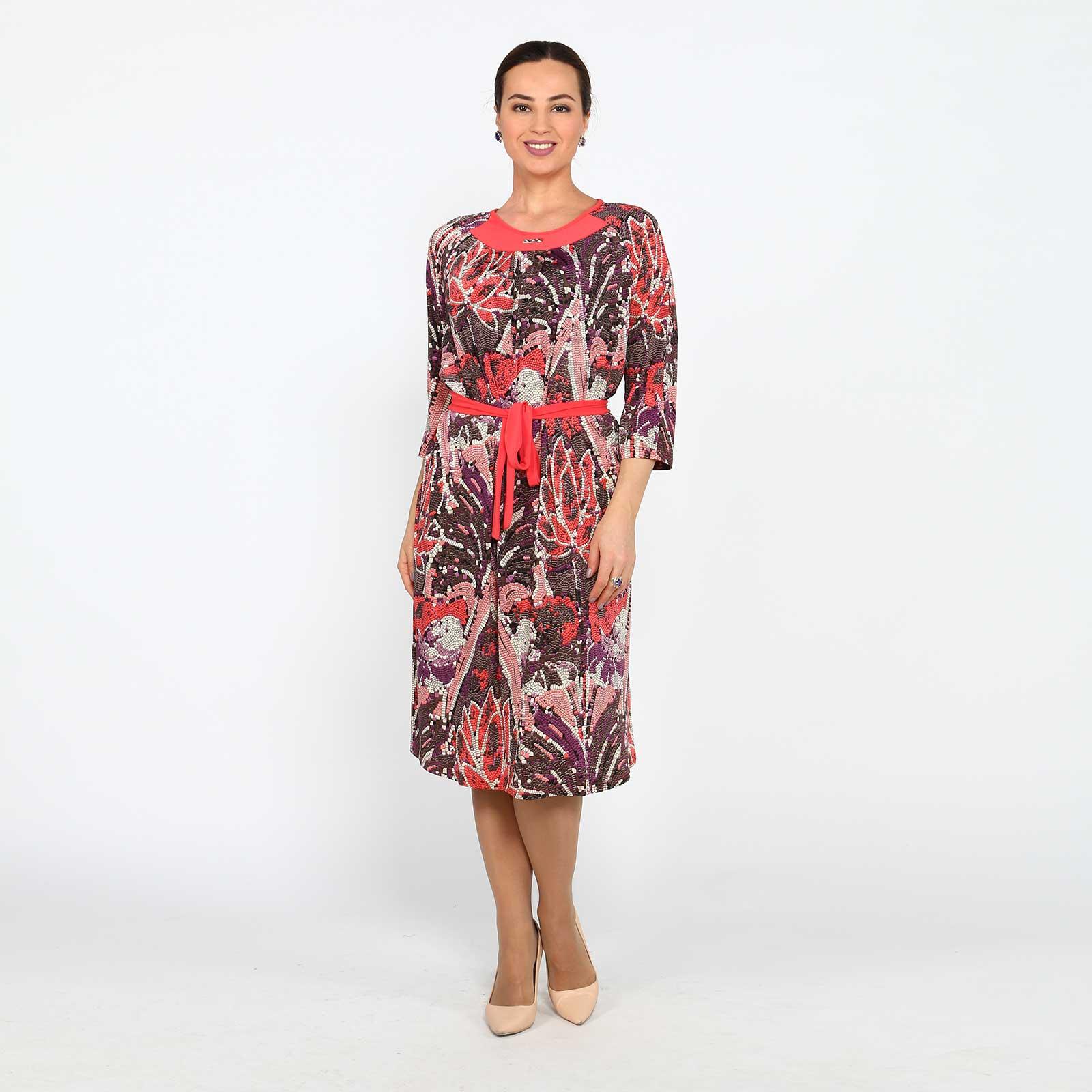 Платье с принтом и контрастным поясом