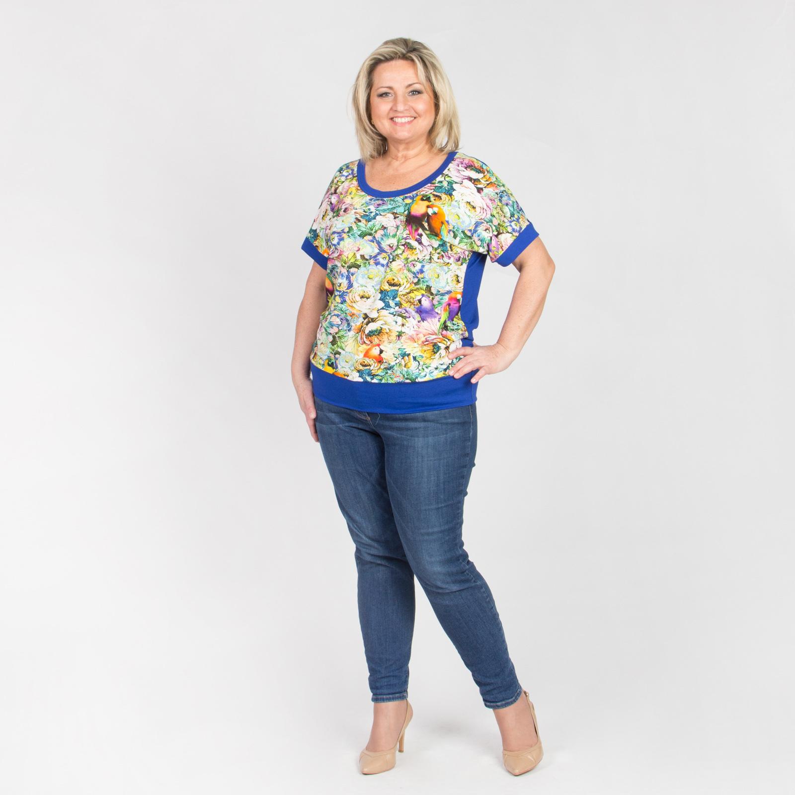 Блуза с контрастной окантовкой и цветочным принтом