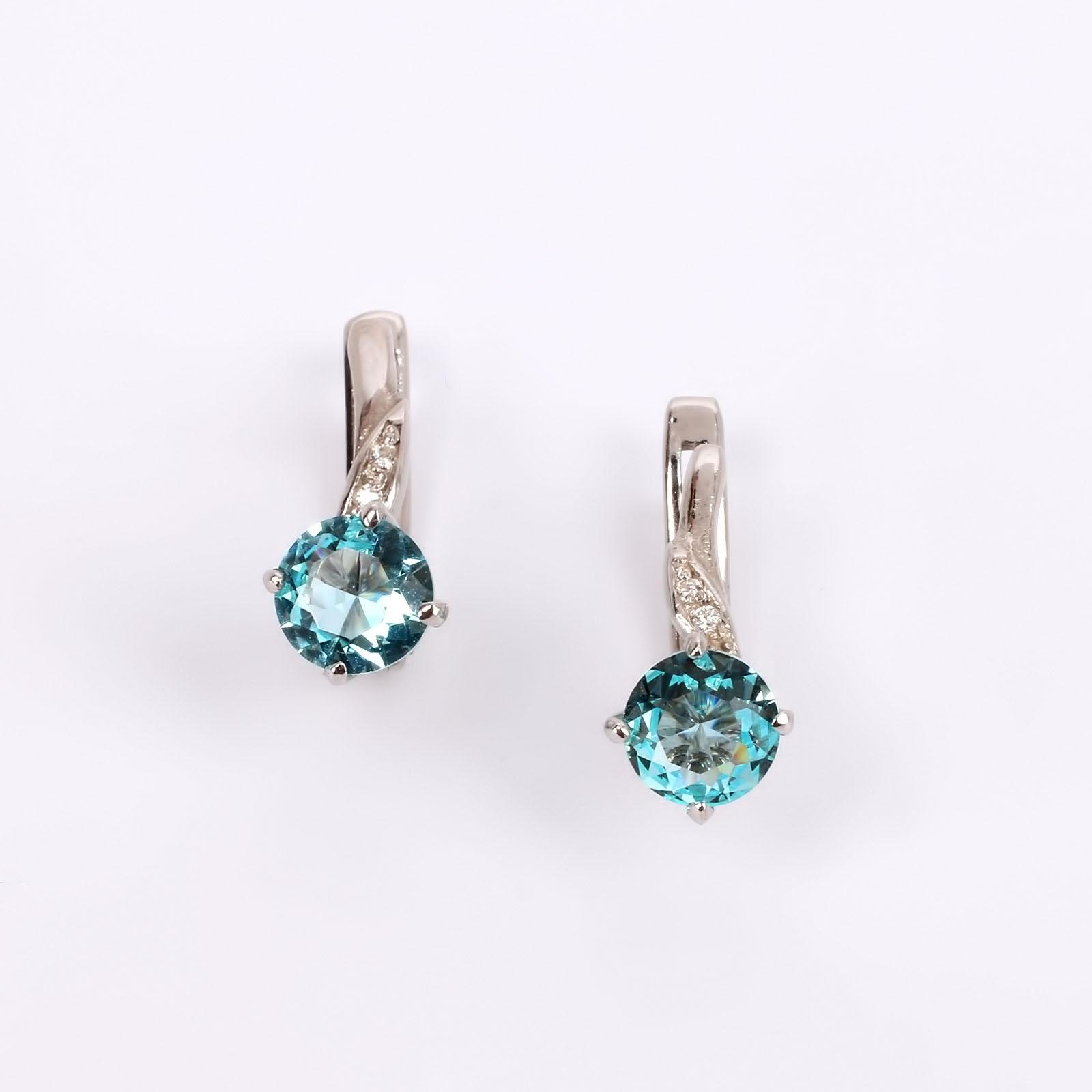 """Серьги из серебра """"Небесный кристалл"""""""