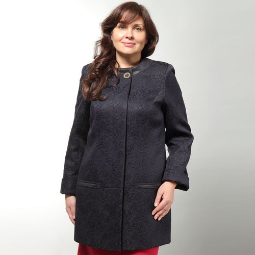 Пальто с фактурным узором «жаккард» и отделкой из экокожи