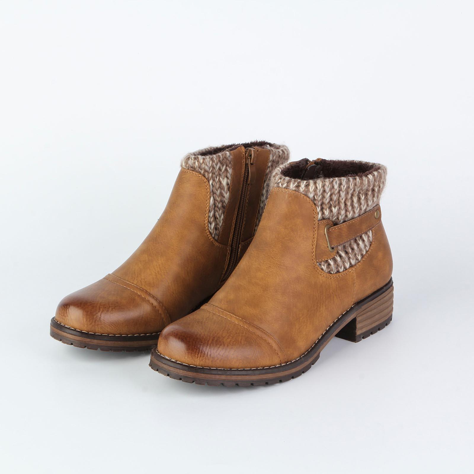 Ботинки женские с декоративной вязкой