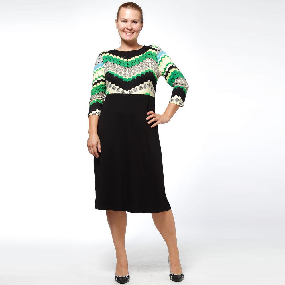 Платье-миди с рукавом 3/4 и контрастным принтом