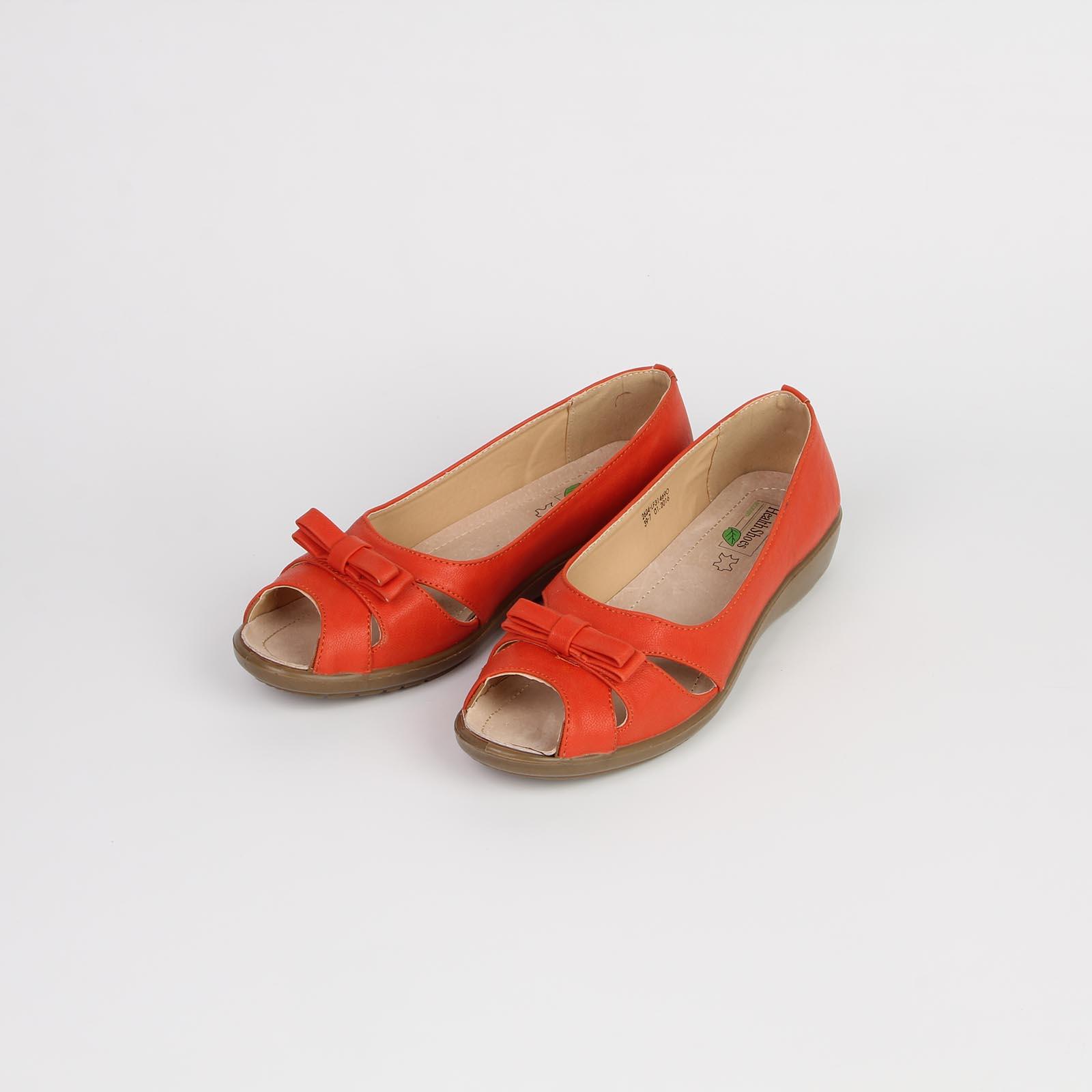 Туфли женские с открытым мысом украшенные бантом