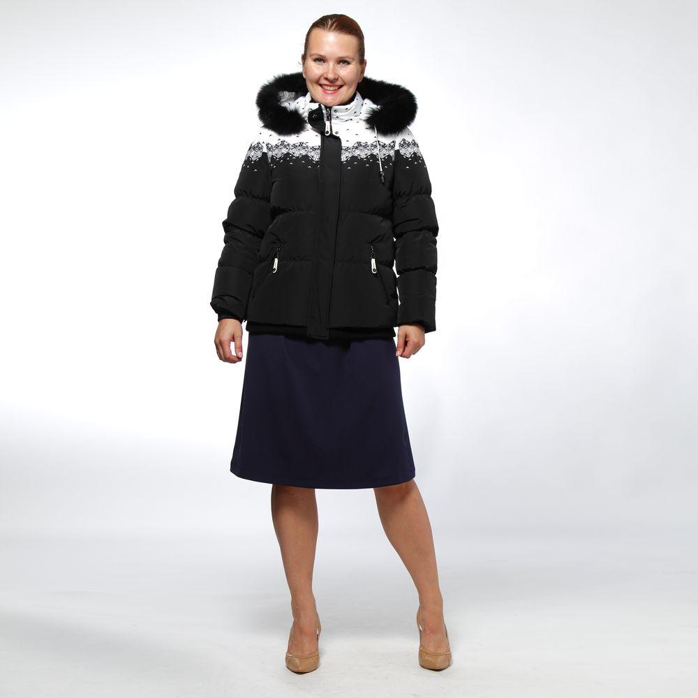 Куртка зимняя с капюшоном и принтом «Снежинки»