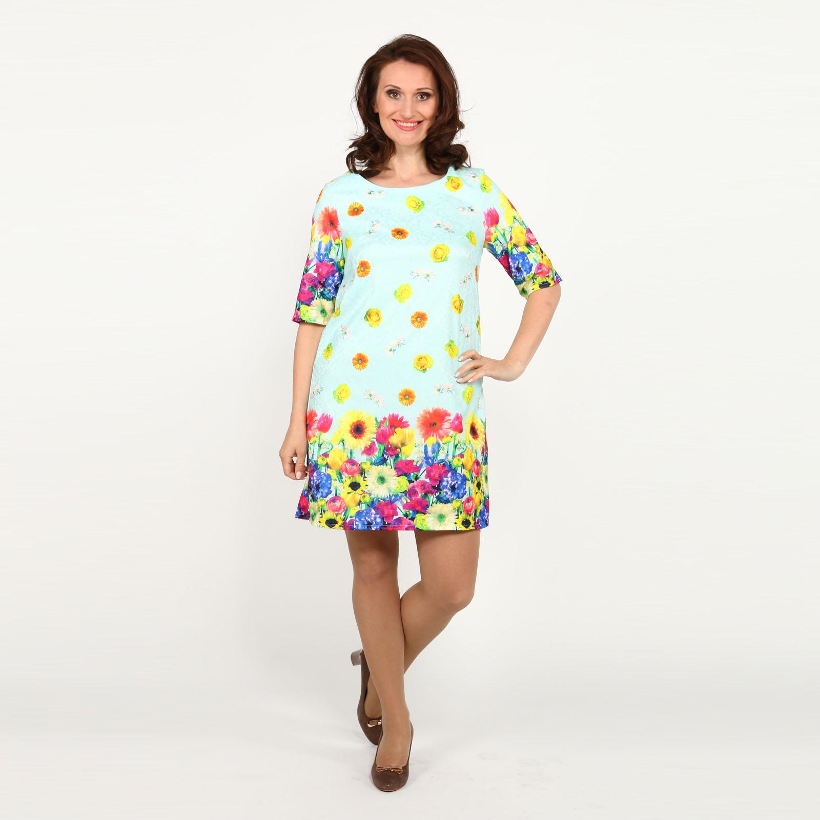 Платье с ярким принтом и округлым вырезом