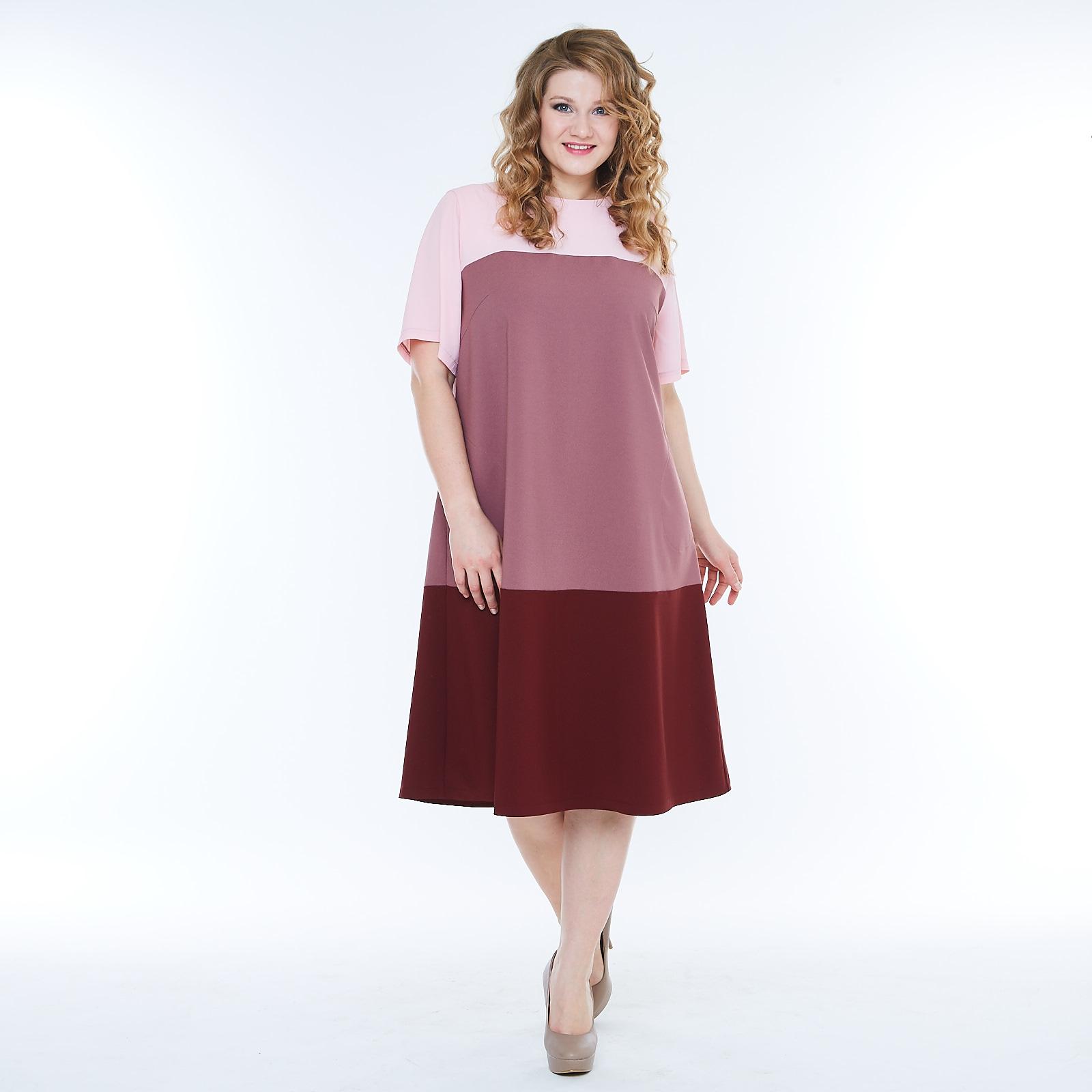 Платье с коротким рукавом комбинированного цвета