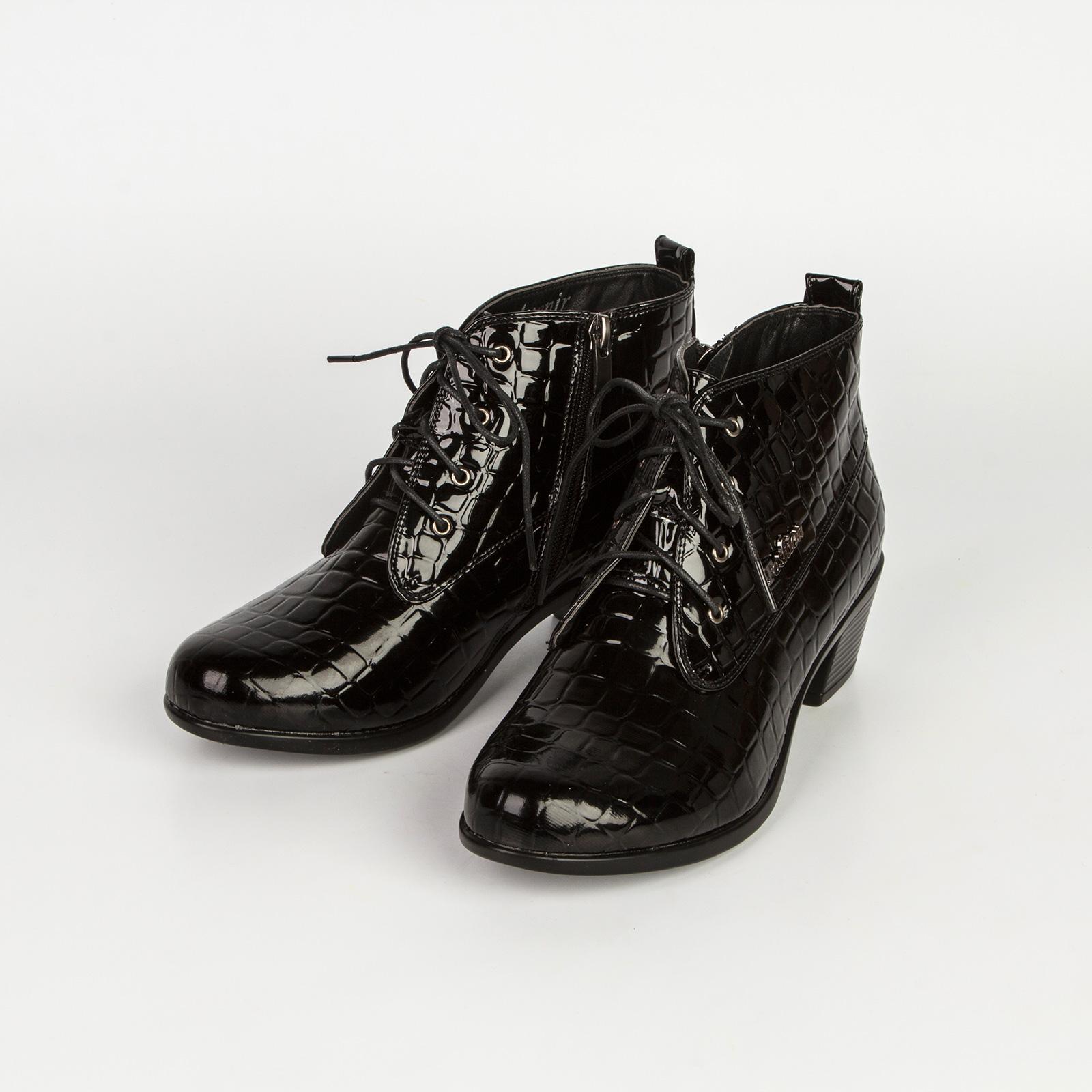 Ботинки женские с тиснением под рептилию