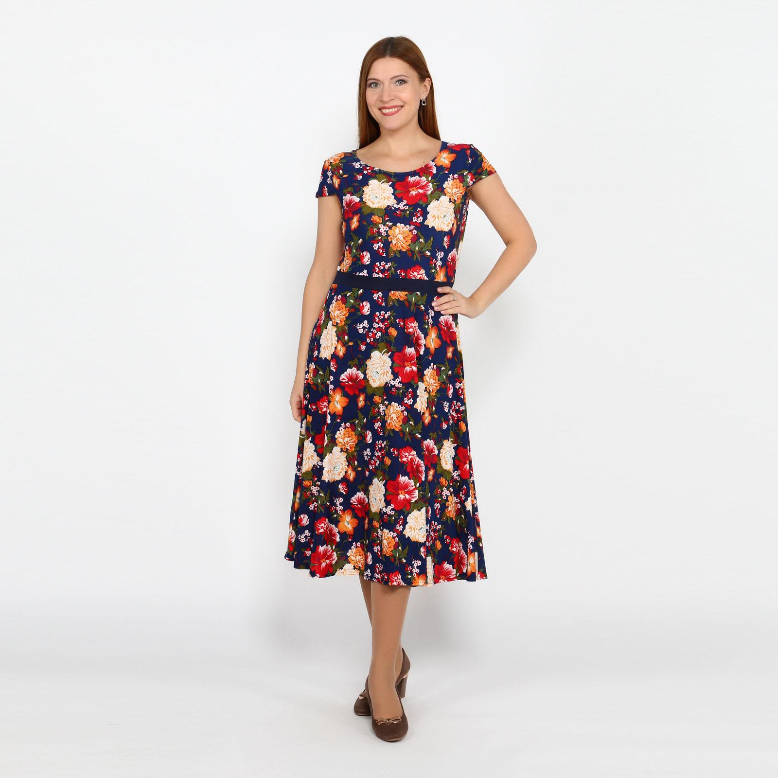 """Платье с принтом """"цветы"""" и короткими рукавами"""