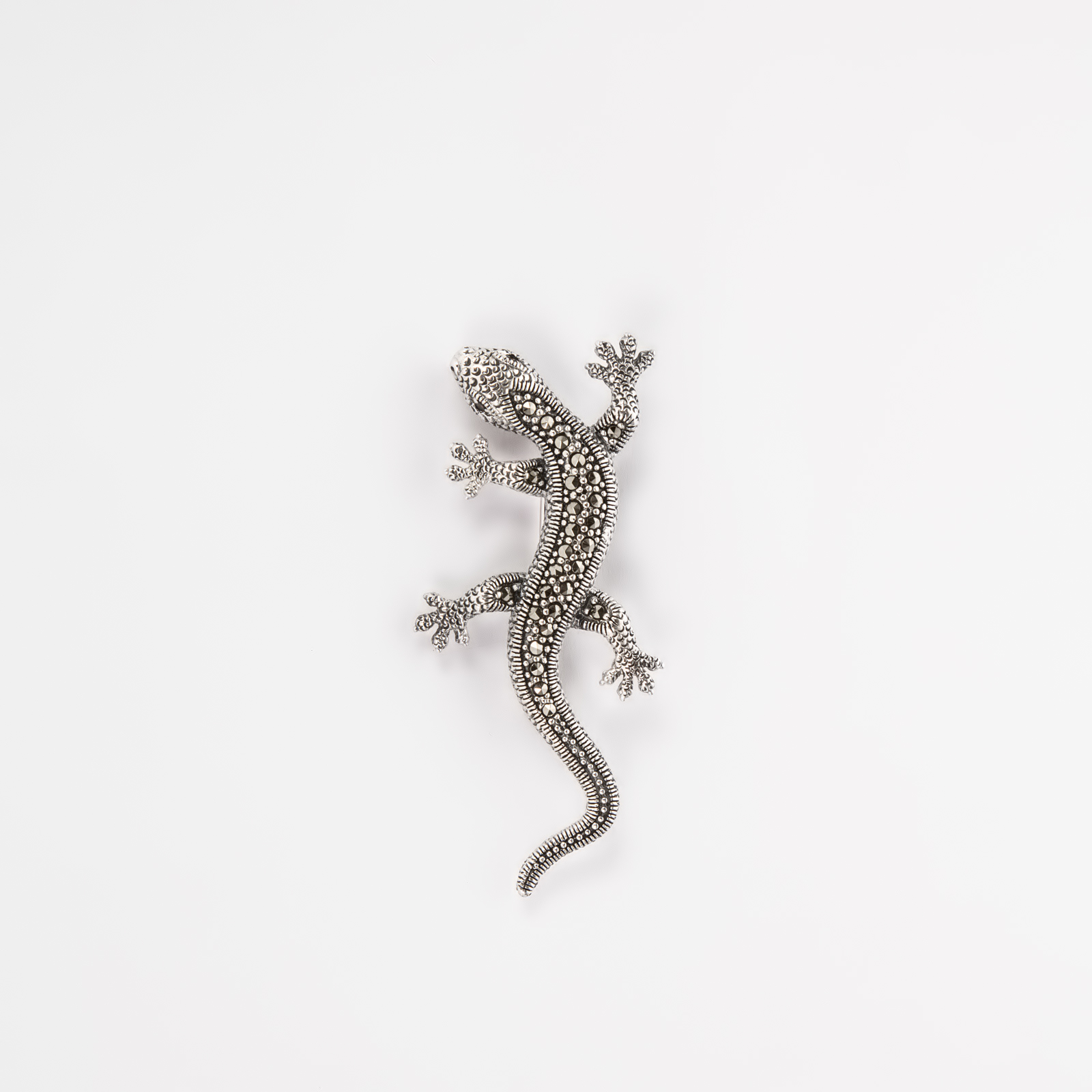 Серебряная брошь-кулон «Ящерица»