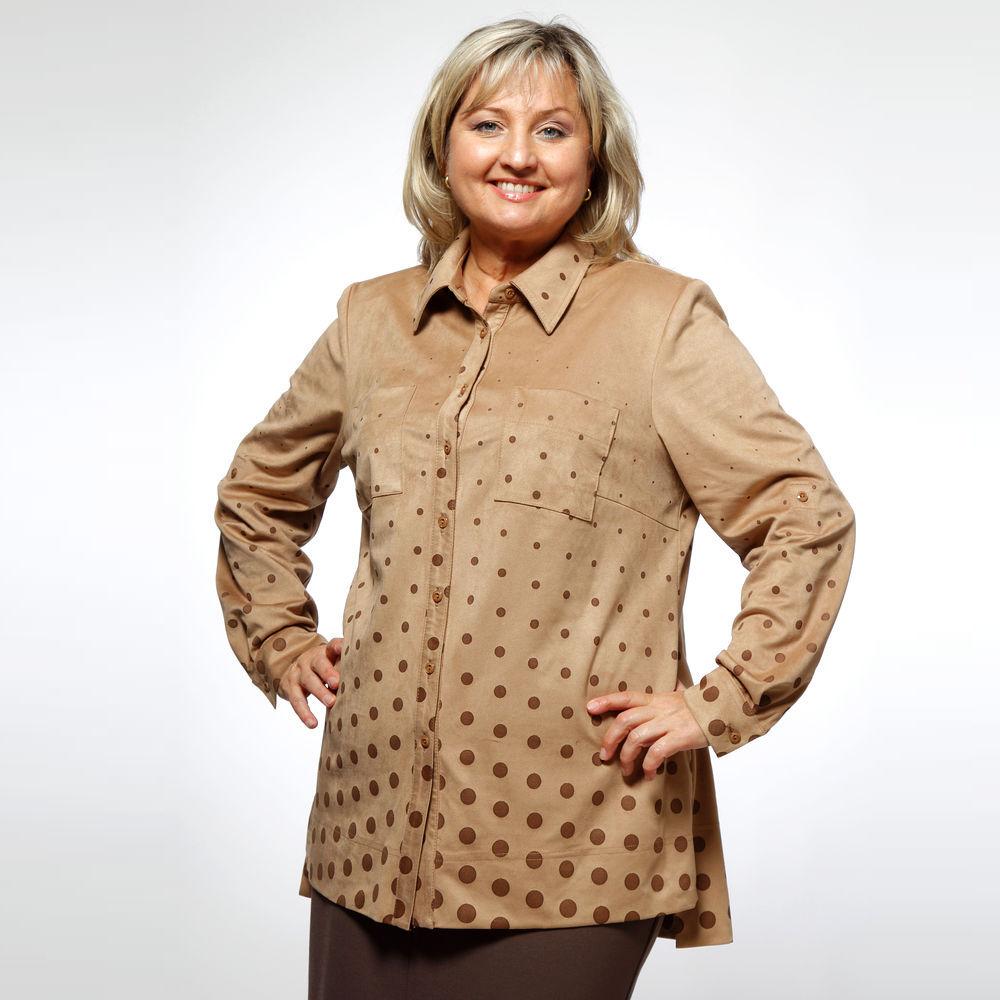Рубашка женская под замшу с отложным воротником