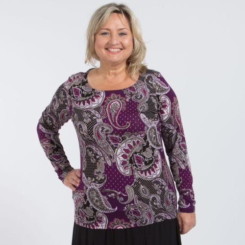 Блуза с округлым вырезом и принтом «пейсли»