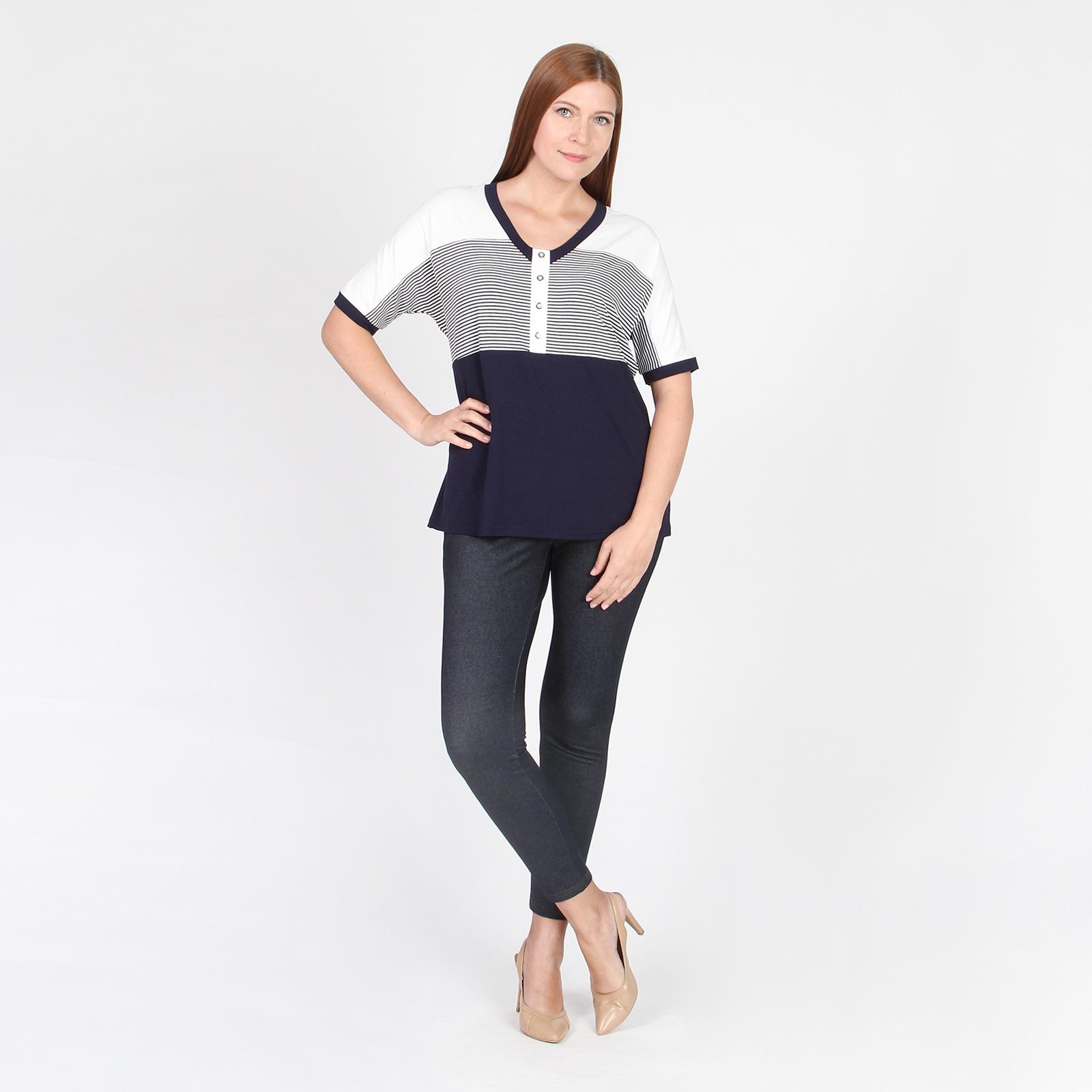 Блуза прямого силуэта с V-образным вырезом